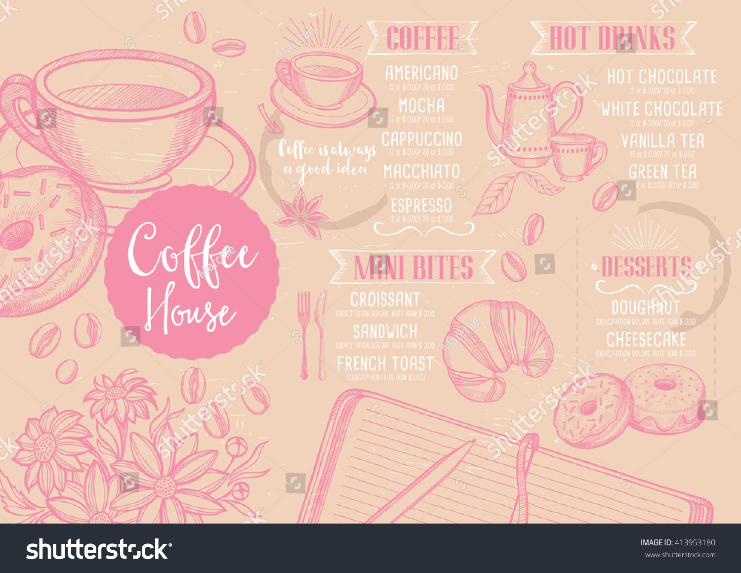 Coffee restaurant brochure vector shop stock
