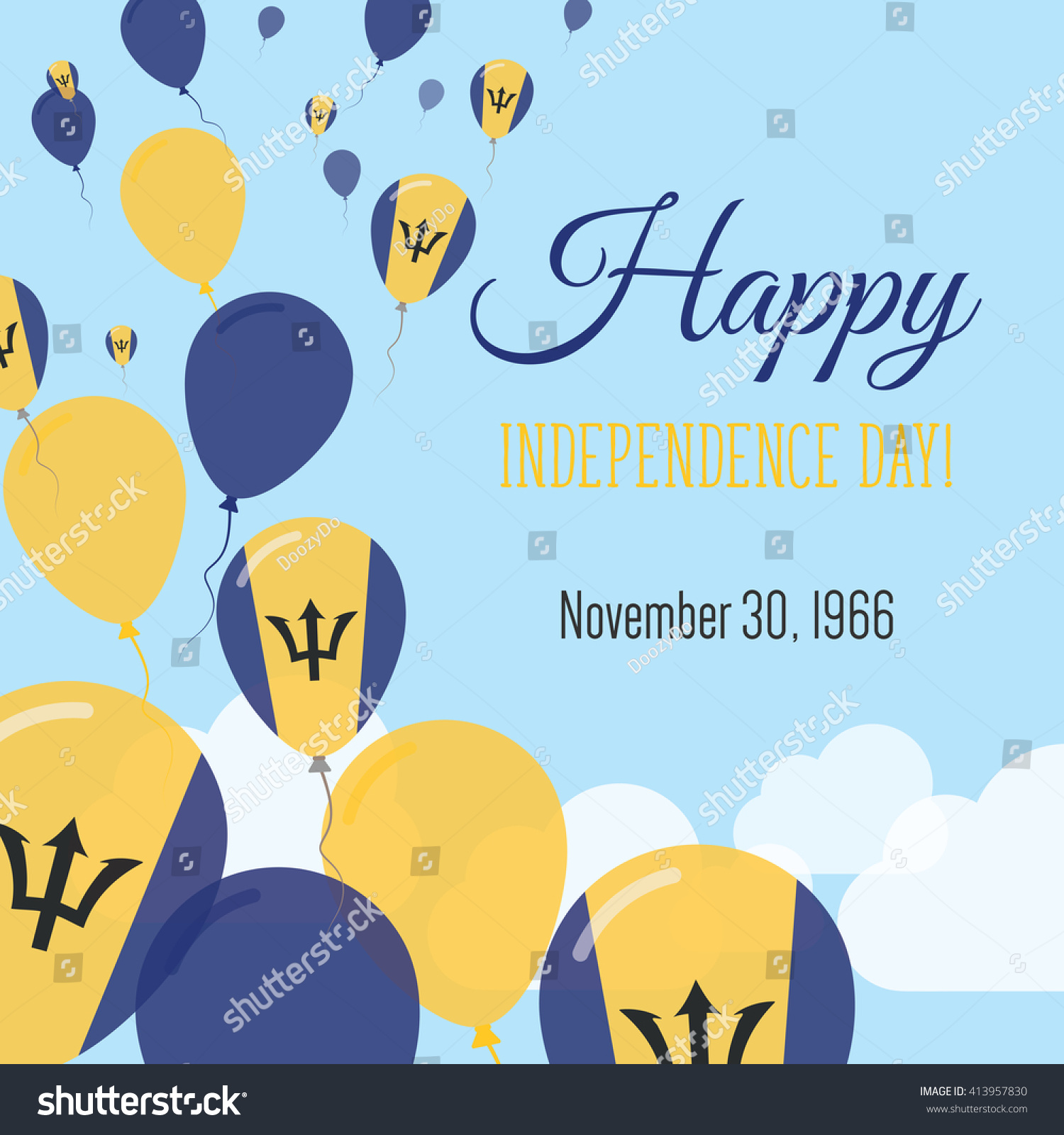 Barbados independence day greeting card flying stock vector royalty barbados independence day greeting card flying flat balloons in national colors of barbados happy m4hsunfo