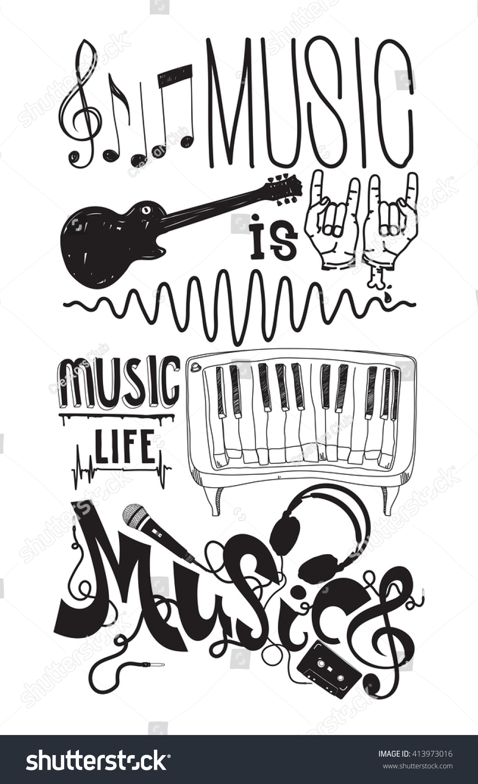 Stock vector music hand lettering and doodles elements - Music Is Life Prefect Set With Isolated Doodle Music Instruments Quote Hand Drawing