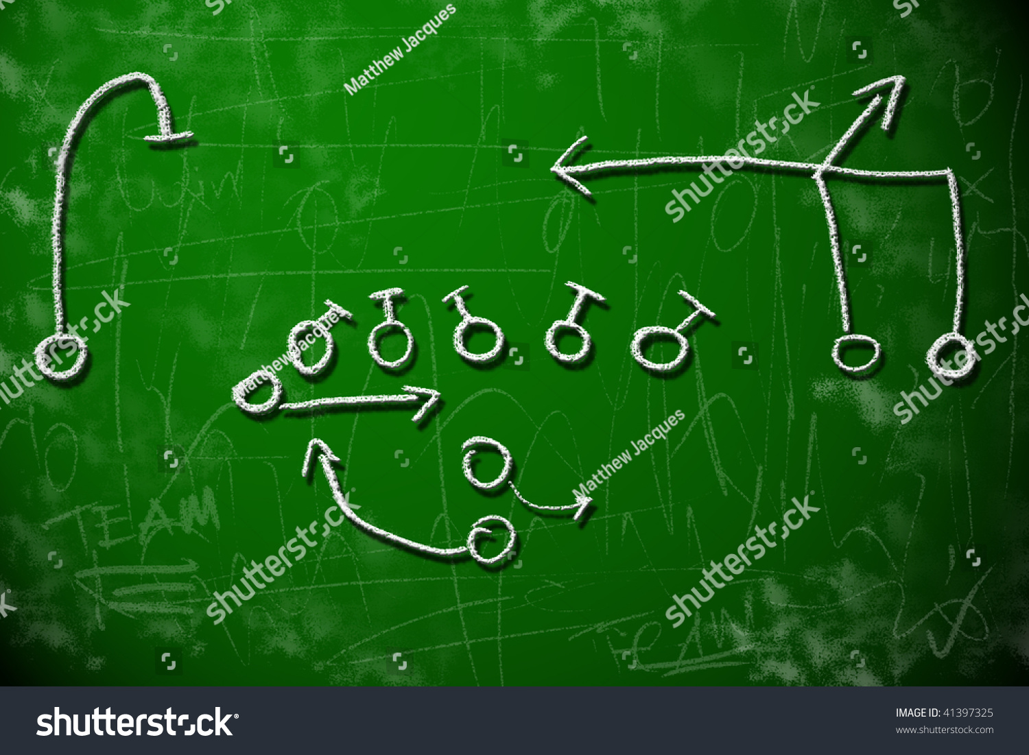 american football playbook diagram on chalkboard shows strategy    save to a lightbox