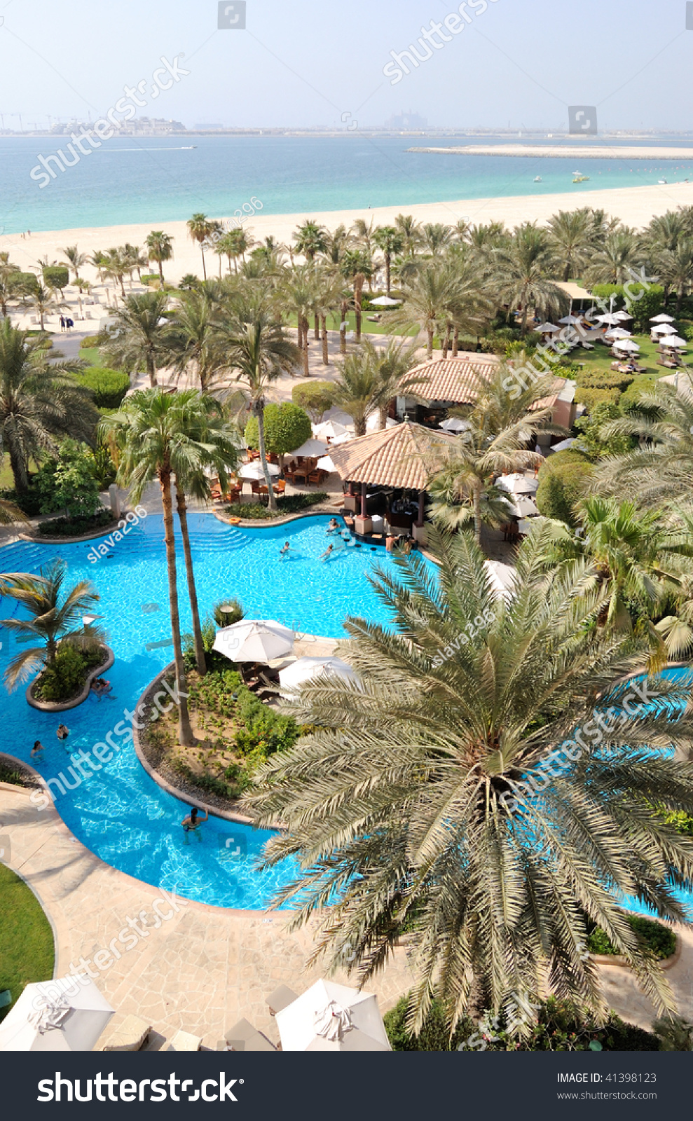 Swimming Pool At Hotel Recreation Area Beach And View On Jumeirah Plam Man Made Island Dubai