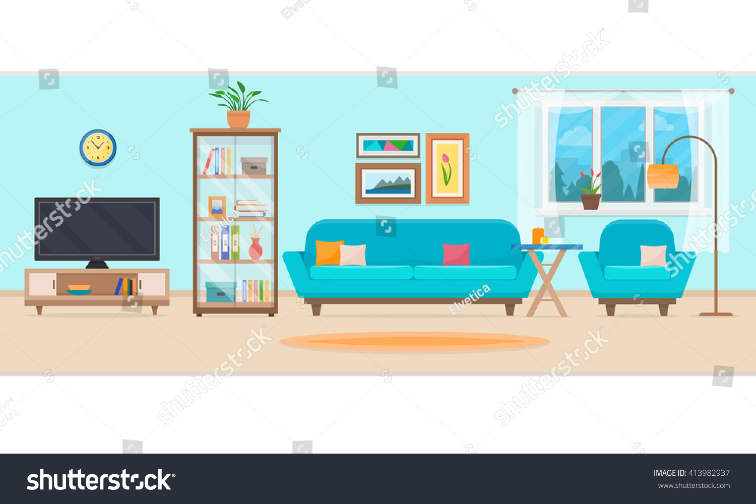 Living room furniture cozy interior sofa stock vector for A living room clipart