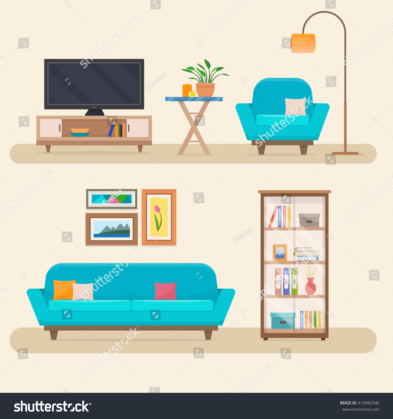 Interior Of Modern Living Room In Flat Design Stock Vector: Living Room Furniture Cozy Interior Sofa Stock Vector