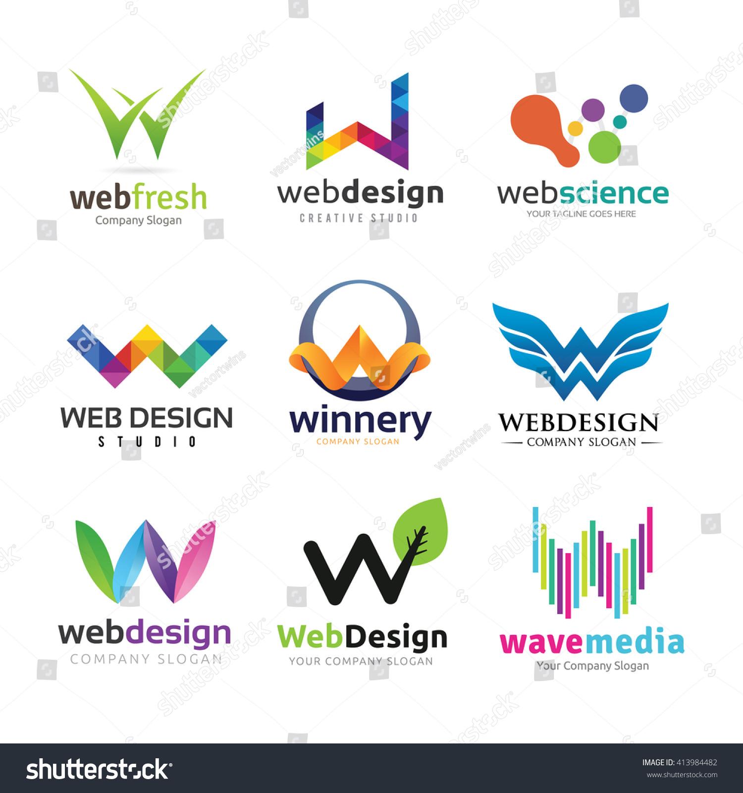 letter w logo set w logo stock vector 413984482 shutterstock. Black Bedroom Furniture Sets. Home Design Ideas