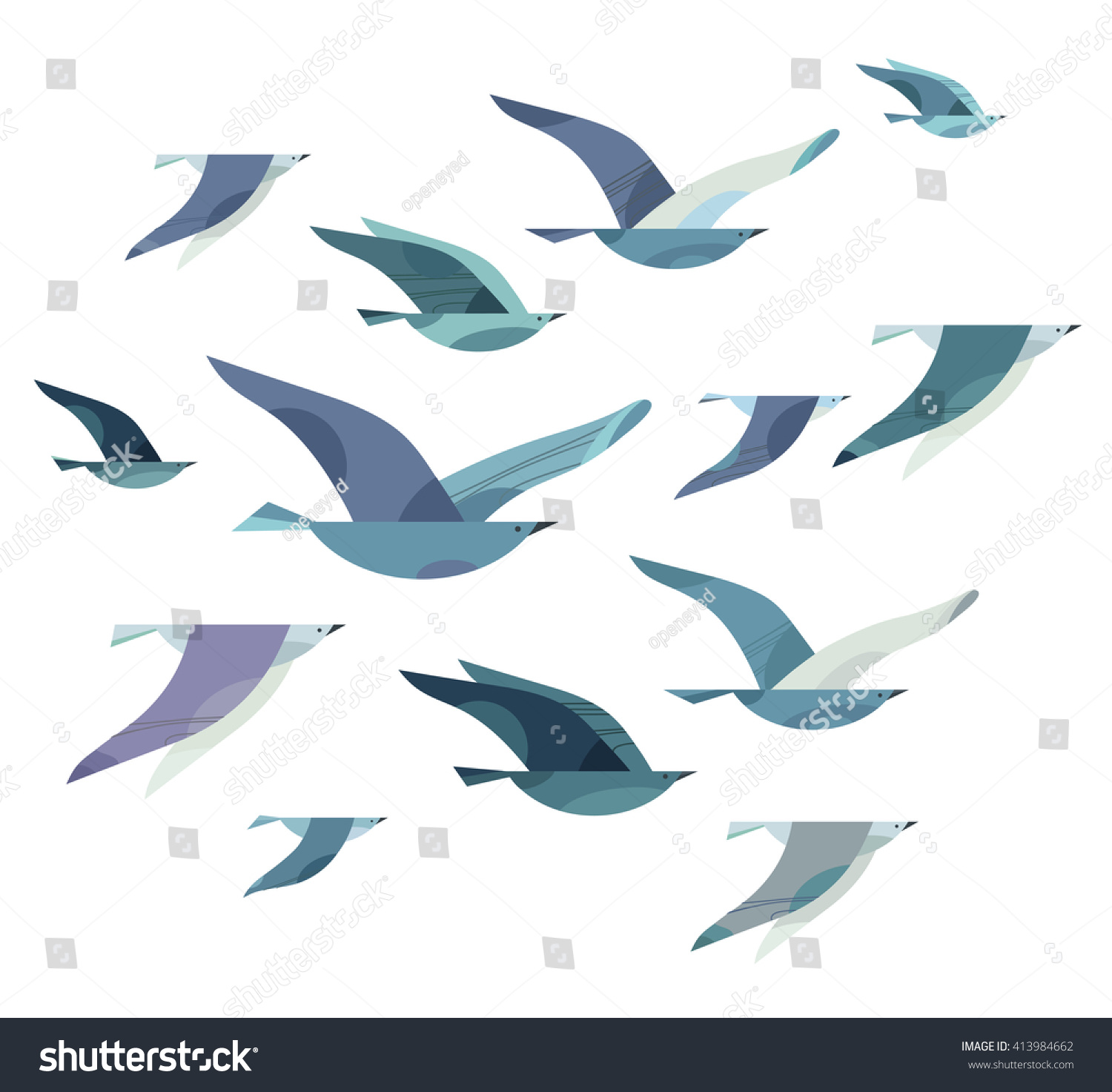 Set of sketches of flying swallows stock vector illustration - Set Of Different Flying Birds In Style Of Minimalism Vector Illustration