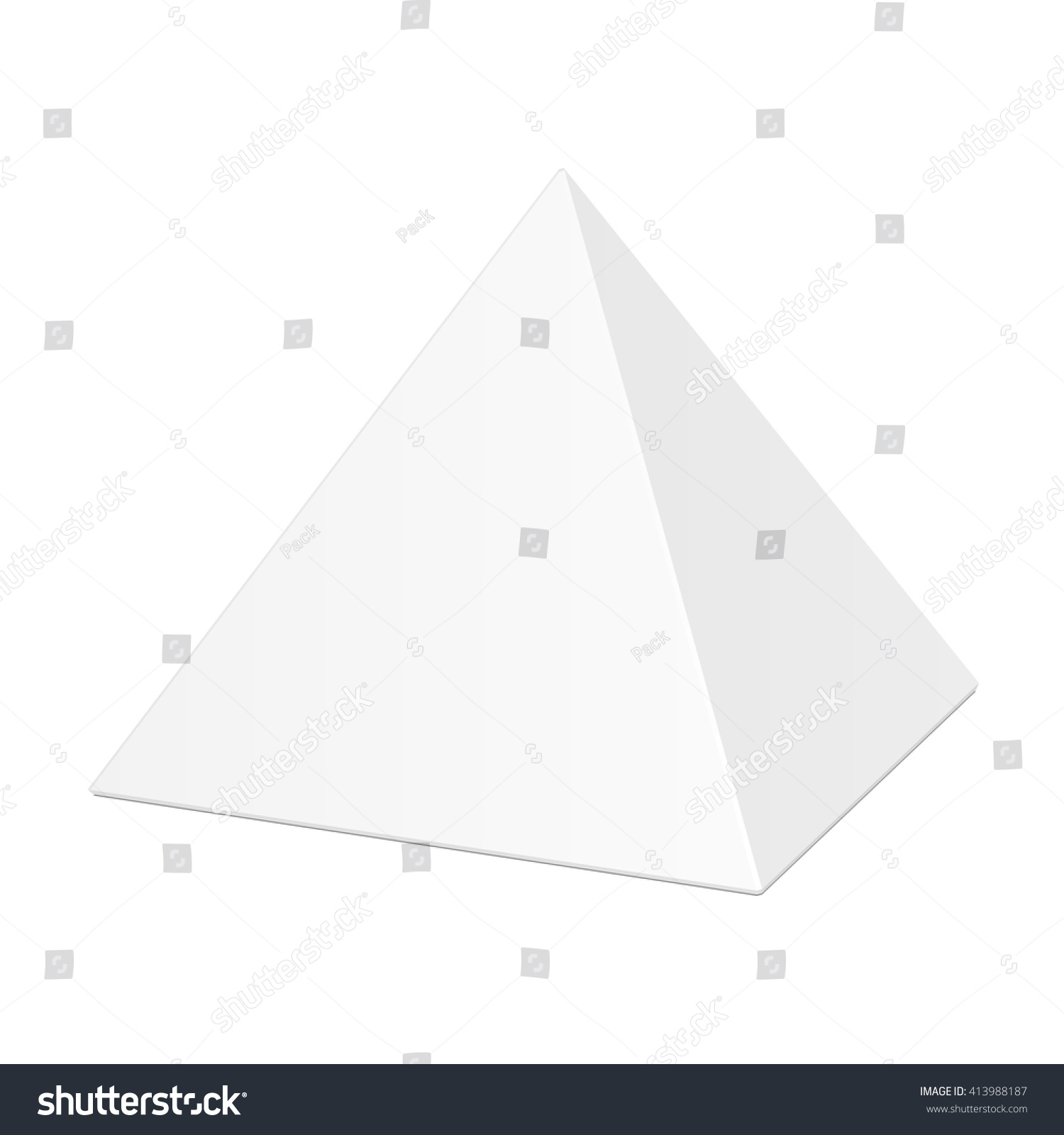 White Cardboard Pyramid Triangle Box Packaging For Food Gift Or Other Products Illustration Isolated