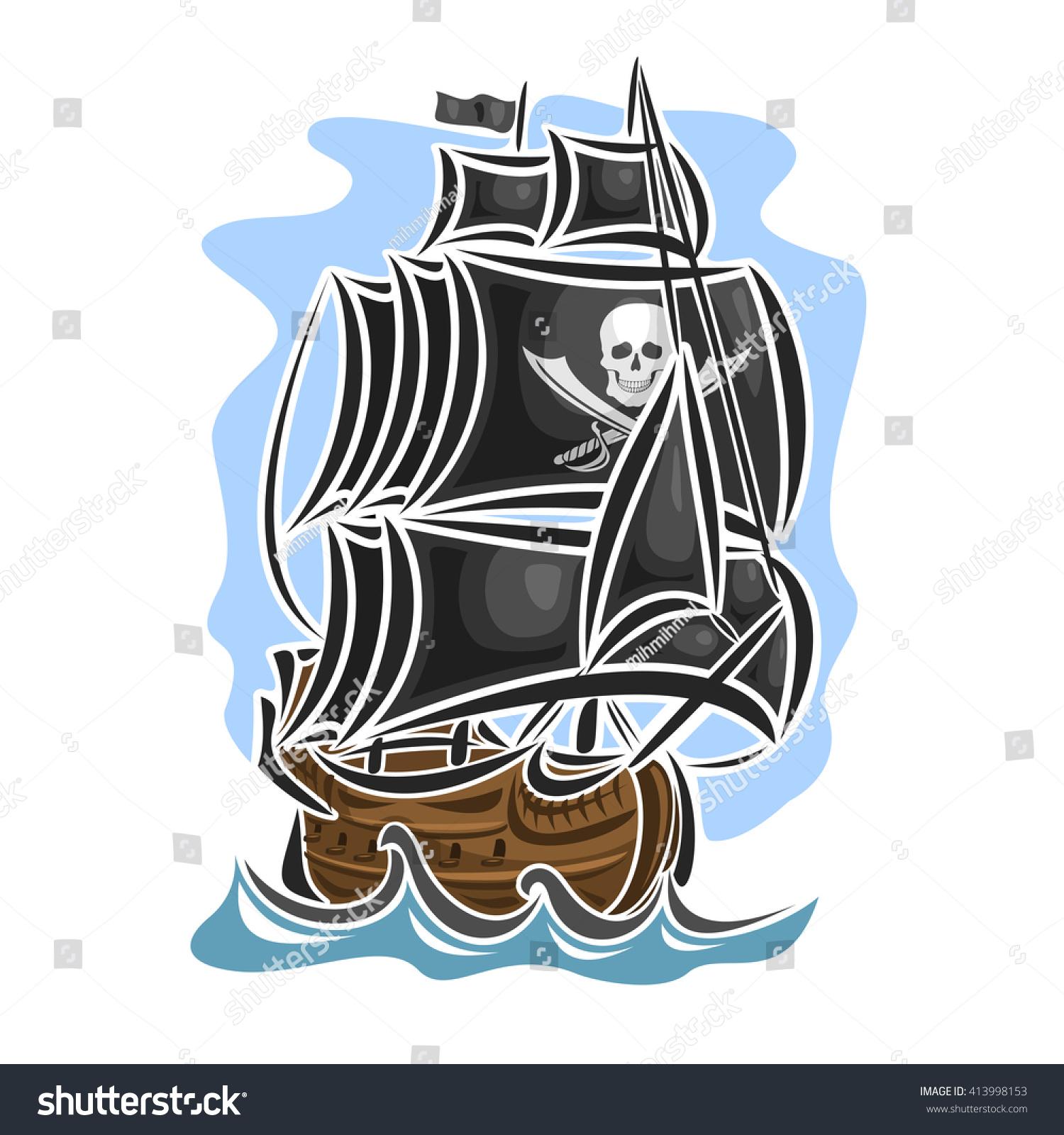 vector logo pirate cartoon sailing ship stock vector 413998153