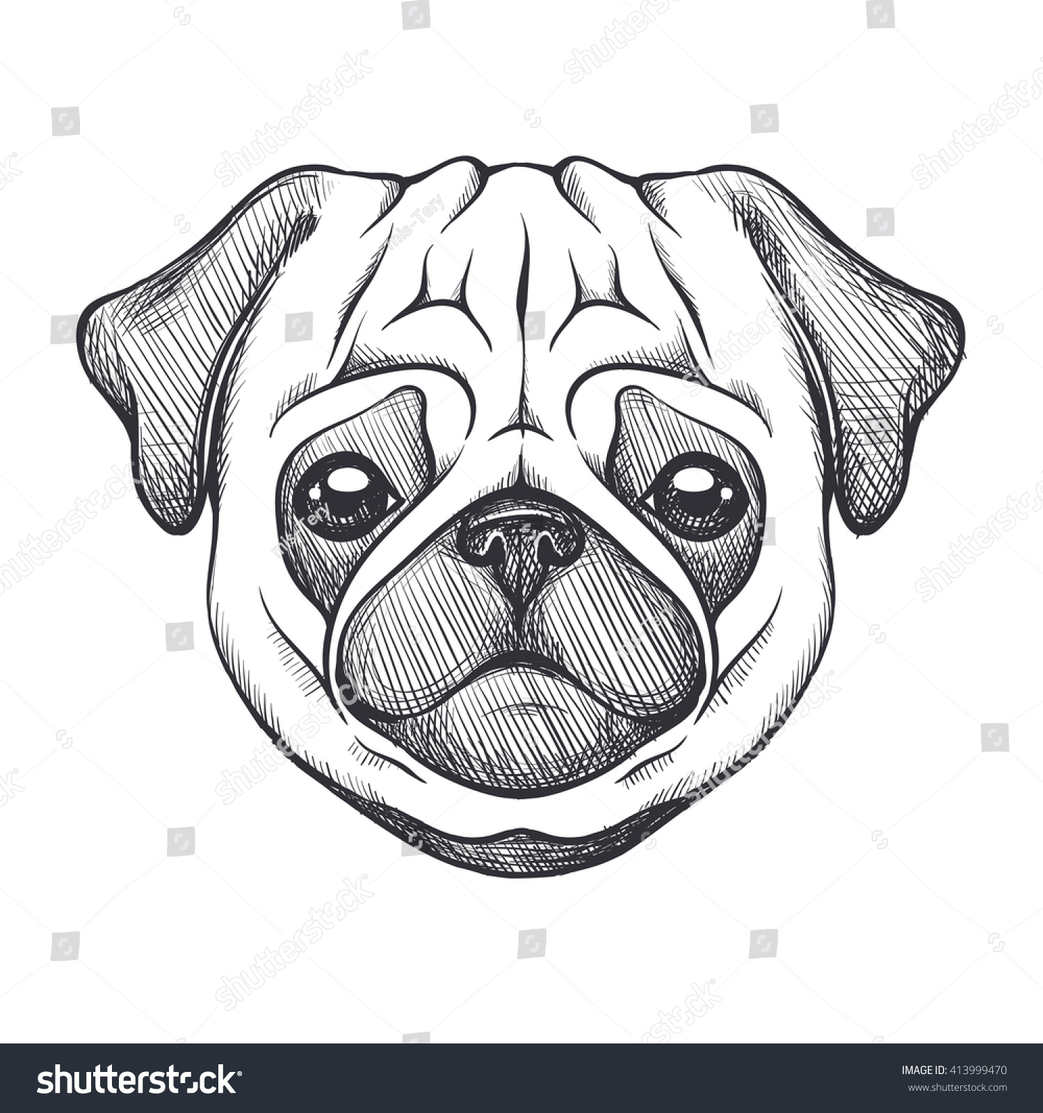 how to draw a pug face