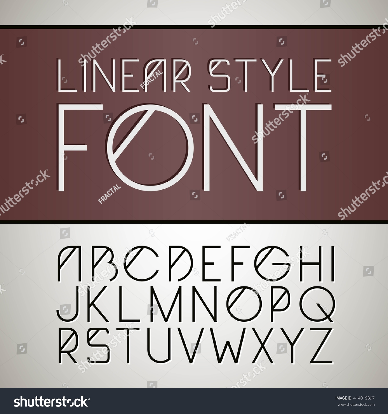 Vector Linear Font Simple Minimalistic Line Stock Vector 414019897 ...