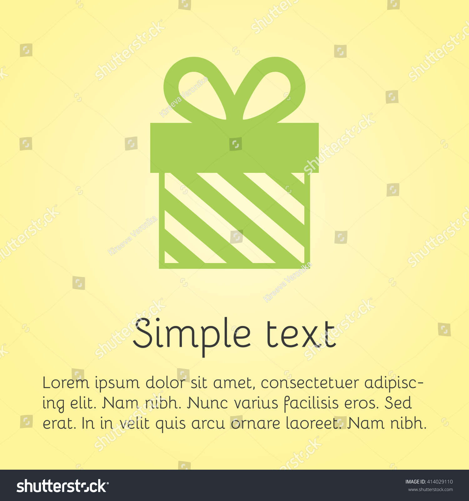 Vector Greeting Cards Template Green Gift Stock Vector Royalty Free