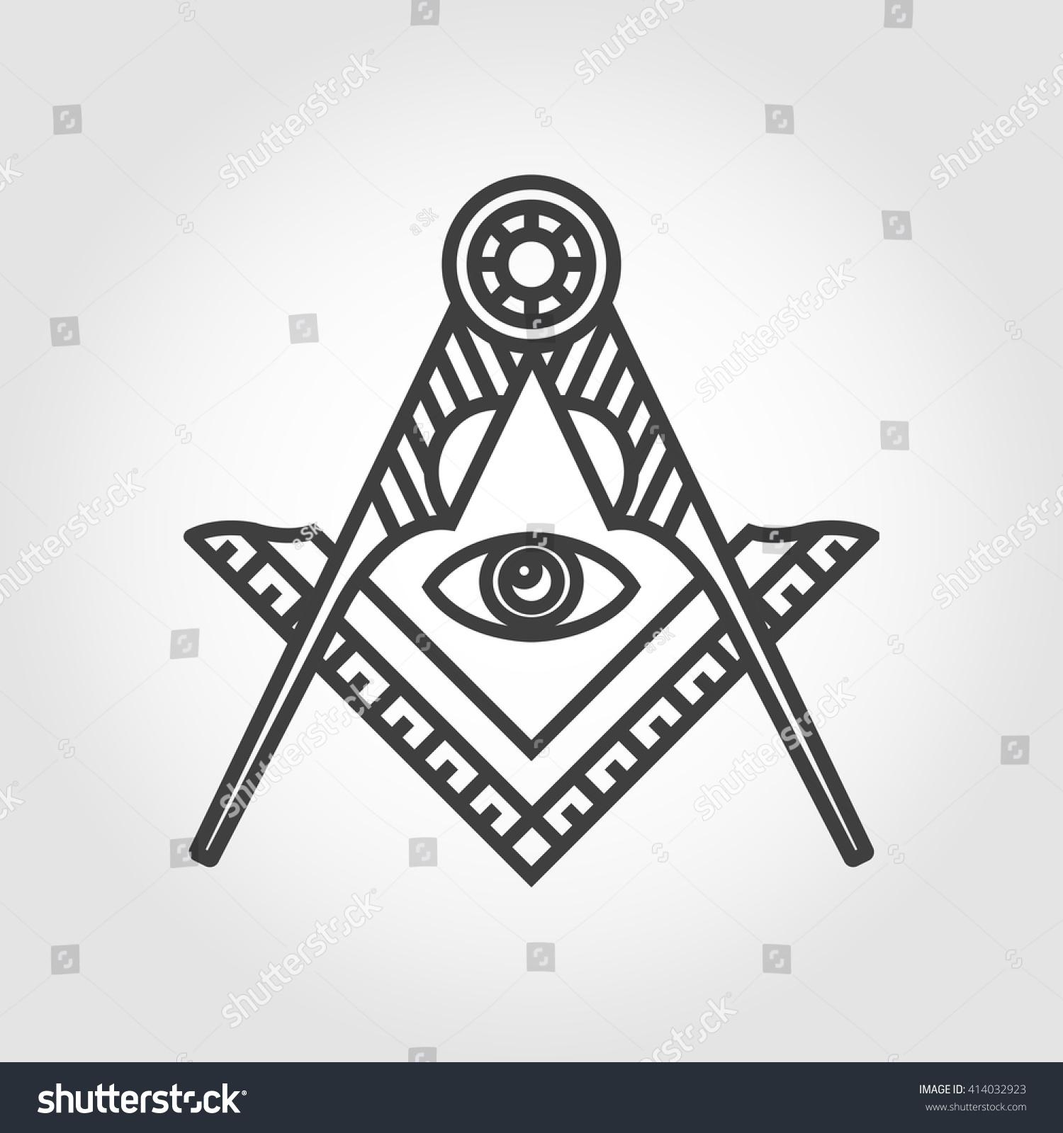 Vector Grey Masonic Freemasonry Emblem Icon Stock Vector Royalty
