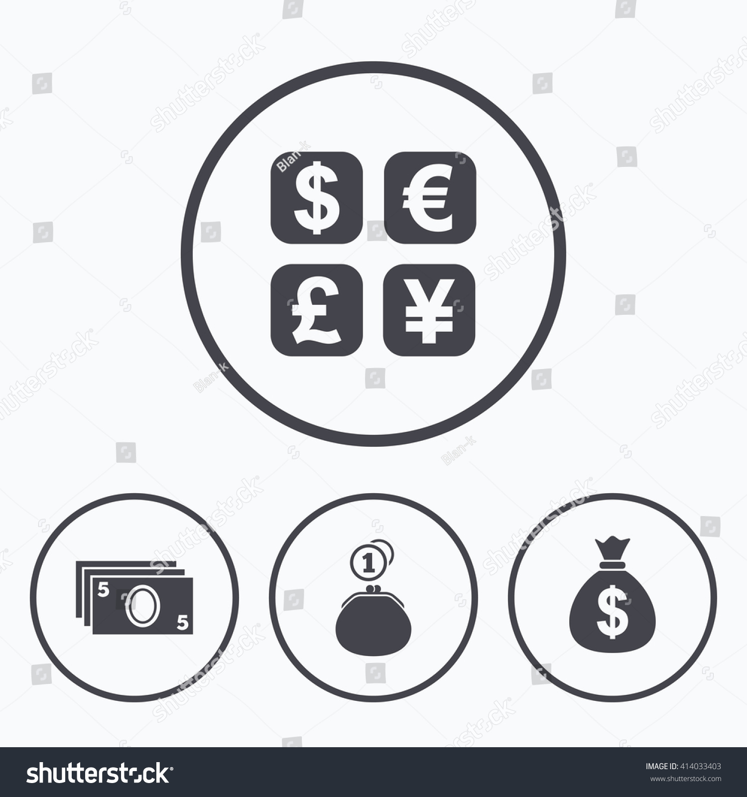 Currency Exchange Icon Cash Money Bag Stock Photo Photo Vector