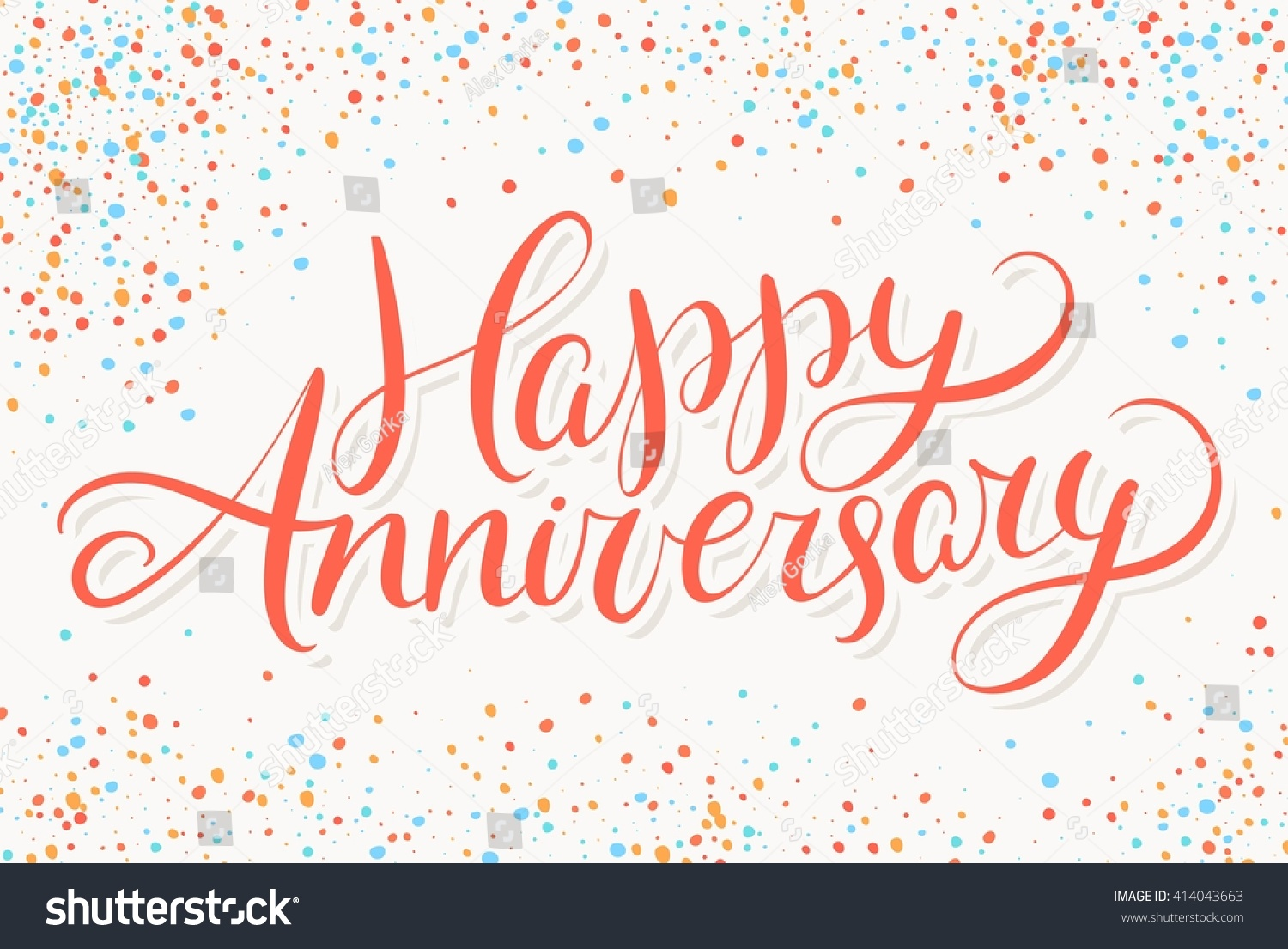 Happy Anniversary Greeting Card Hand Lettering Stock Vector