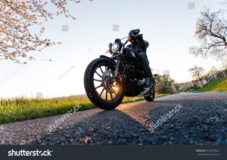 Man Sat On Motorcycle On Road Stock Photo 414057634 ...