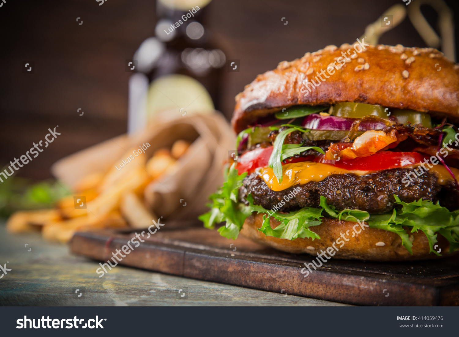 Closeup home made tasty burgers on stock photo 414059476 for Table burger