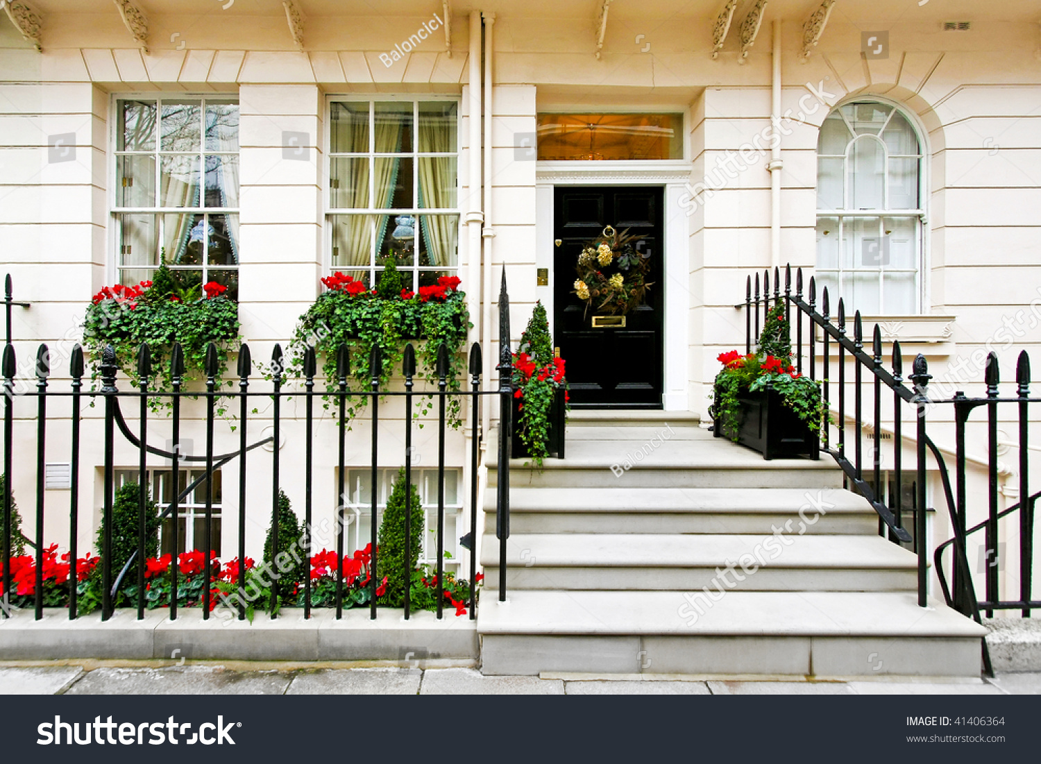 Traditional British Home Front Christmas Decoration Stock