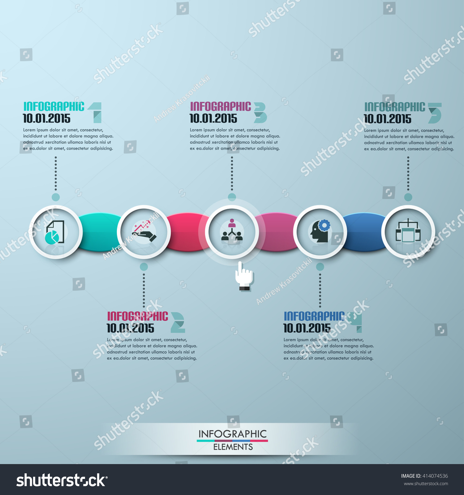 modern business circle origami style timeline stock vector