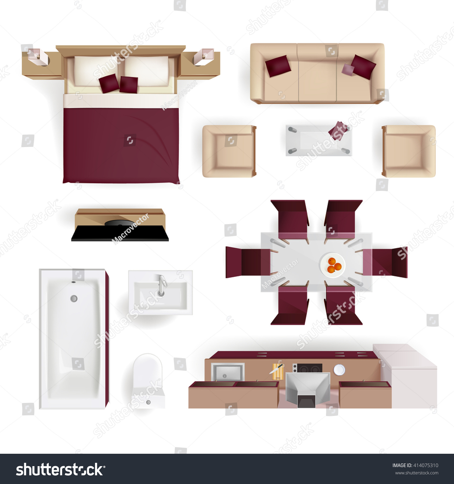 Modern Apartment Living Room Bedroom And Bathroom Furniture Design Elements Top View Image Realistic Vector Illustration