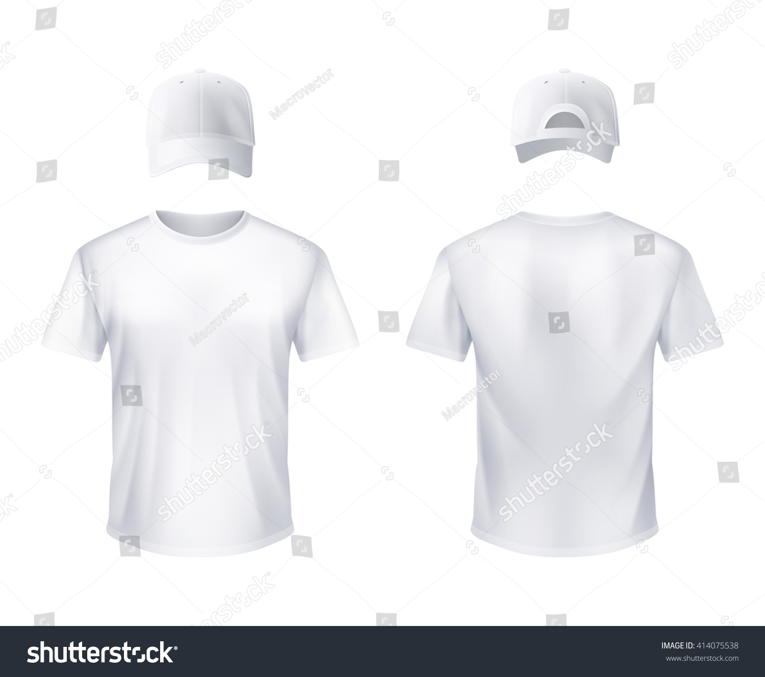 White t shirt for design - White T Shirt And Baseball Cap Front And Back Views Set Realistic Design For Men