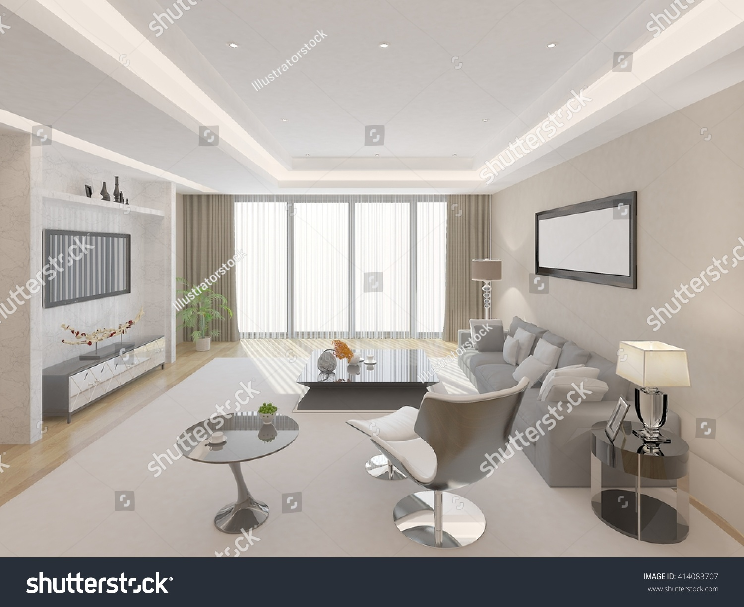 Bright Spacious Living Room 3 D Rendering Stock Illustration ...