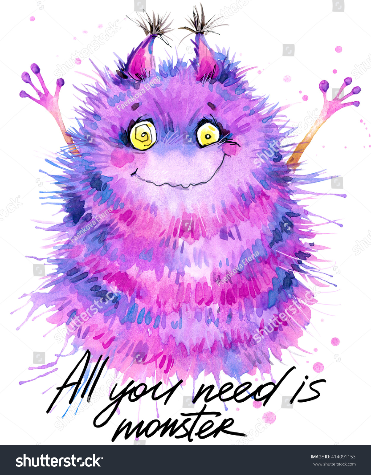 Cute monster watercolor illustration Fluffy Monster Cartoon cute monster All you need is monster hand written text Invitation card