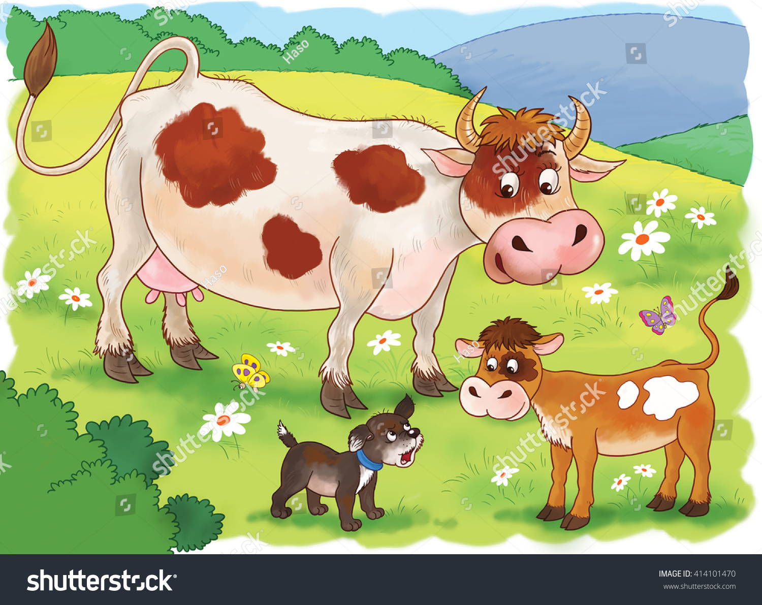 Farm Cute Mother Cow Her Calf Stock Illustration - Mother takes amazing pictures ever children animals farm
