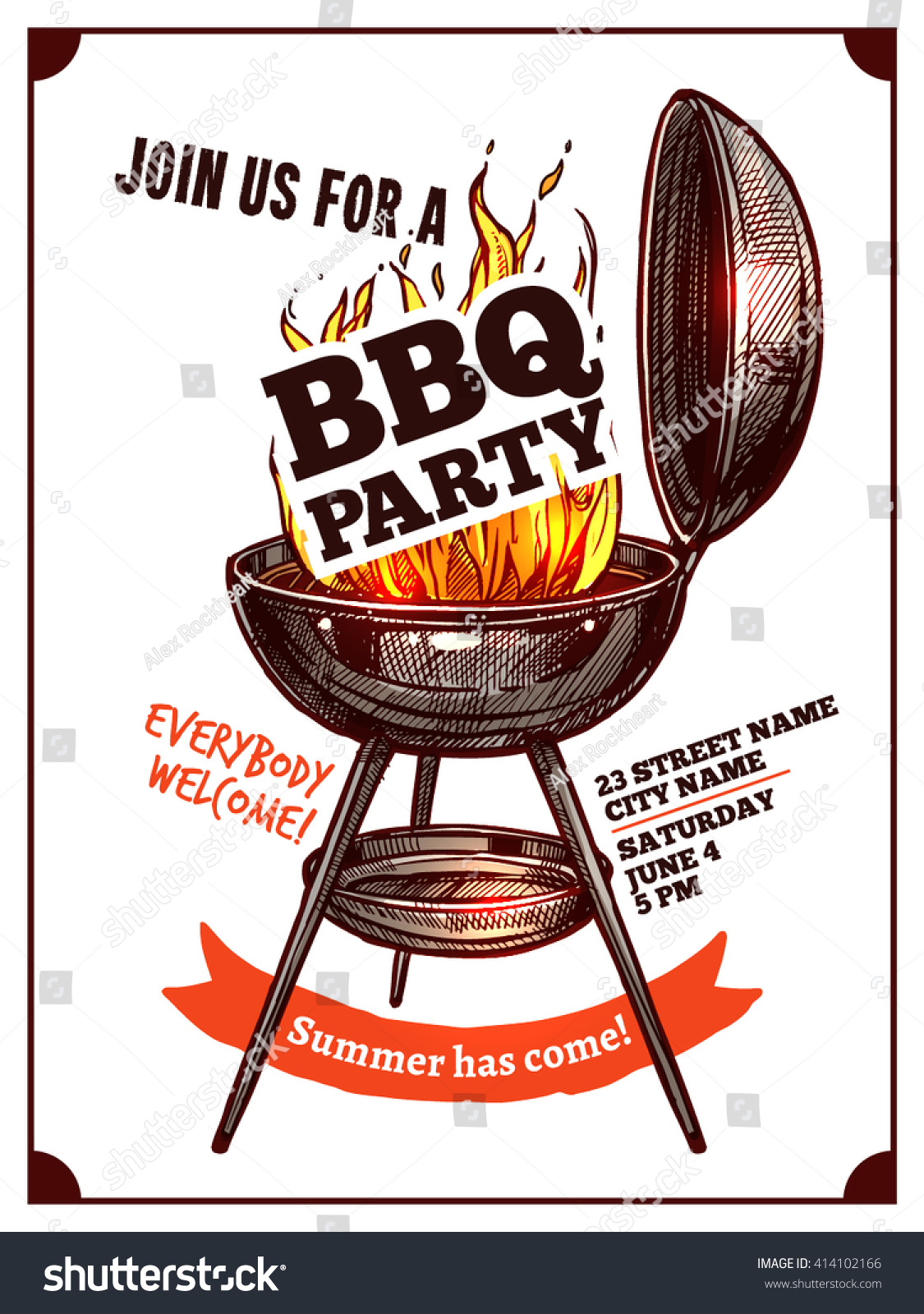 Cookout border clipart hot dog cookout invite stock vector art - Bbq Barbecue Vintage Party Poster With Fire And Typography
