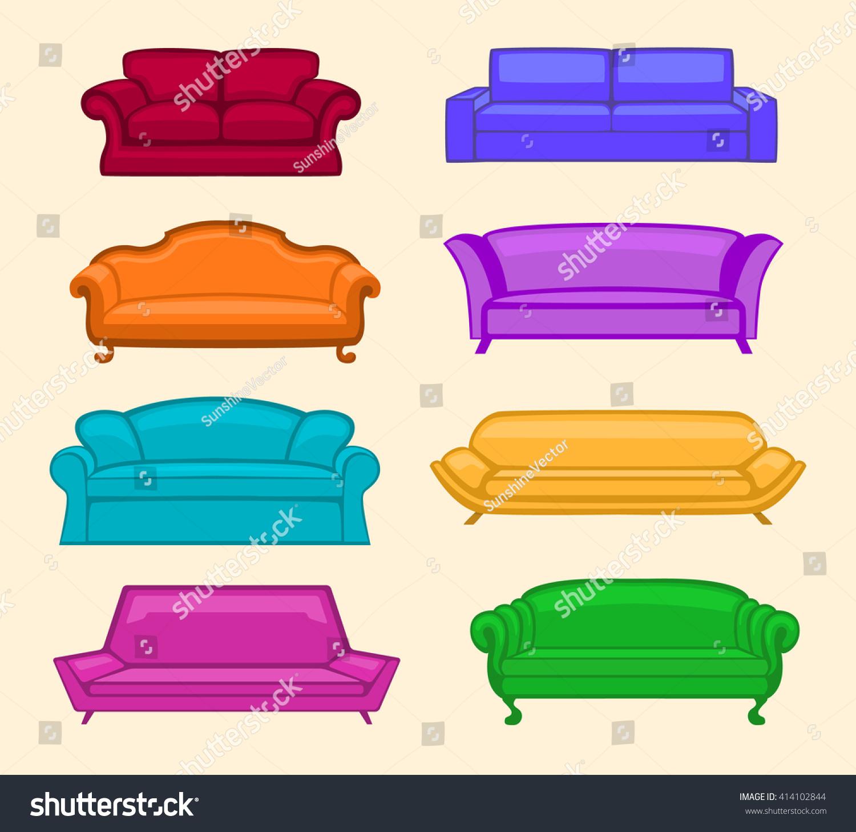 Colorful Sofas Set Modern Vintage Designer Stock Vector 414102844