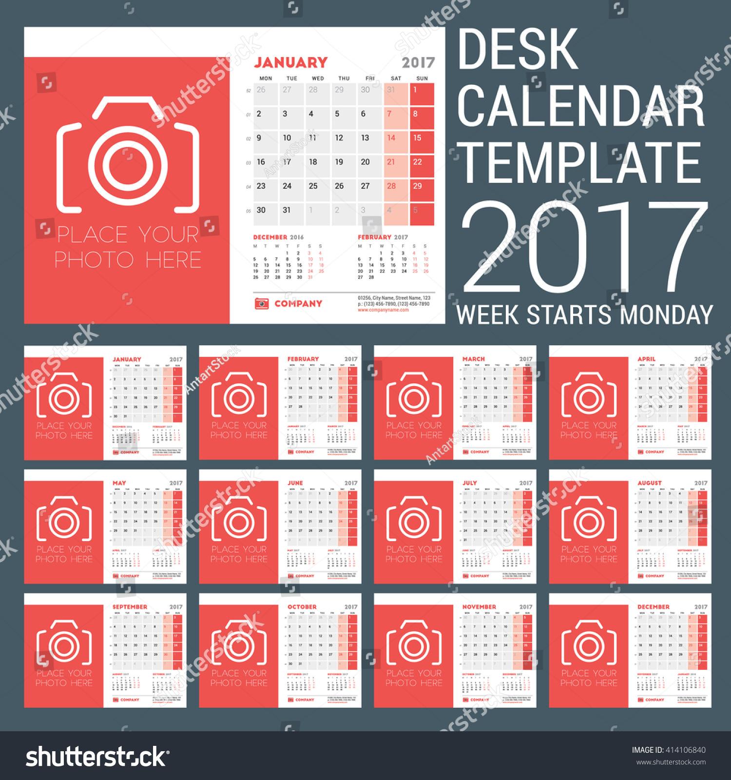 Calendar Typography Vector : Desk calendar template year stock vector