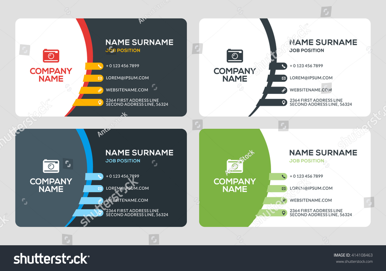 Creative Business Card Template Flat Design Stock Vector (2018 ...