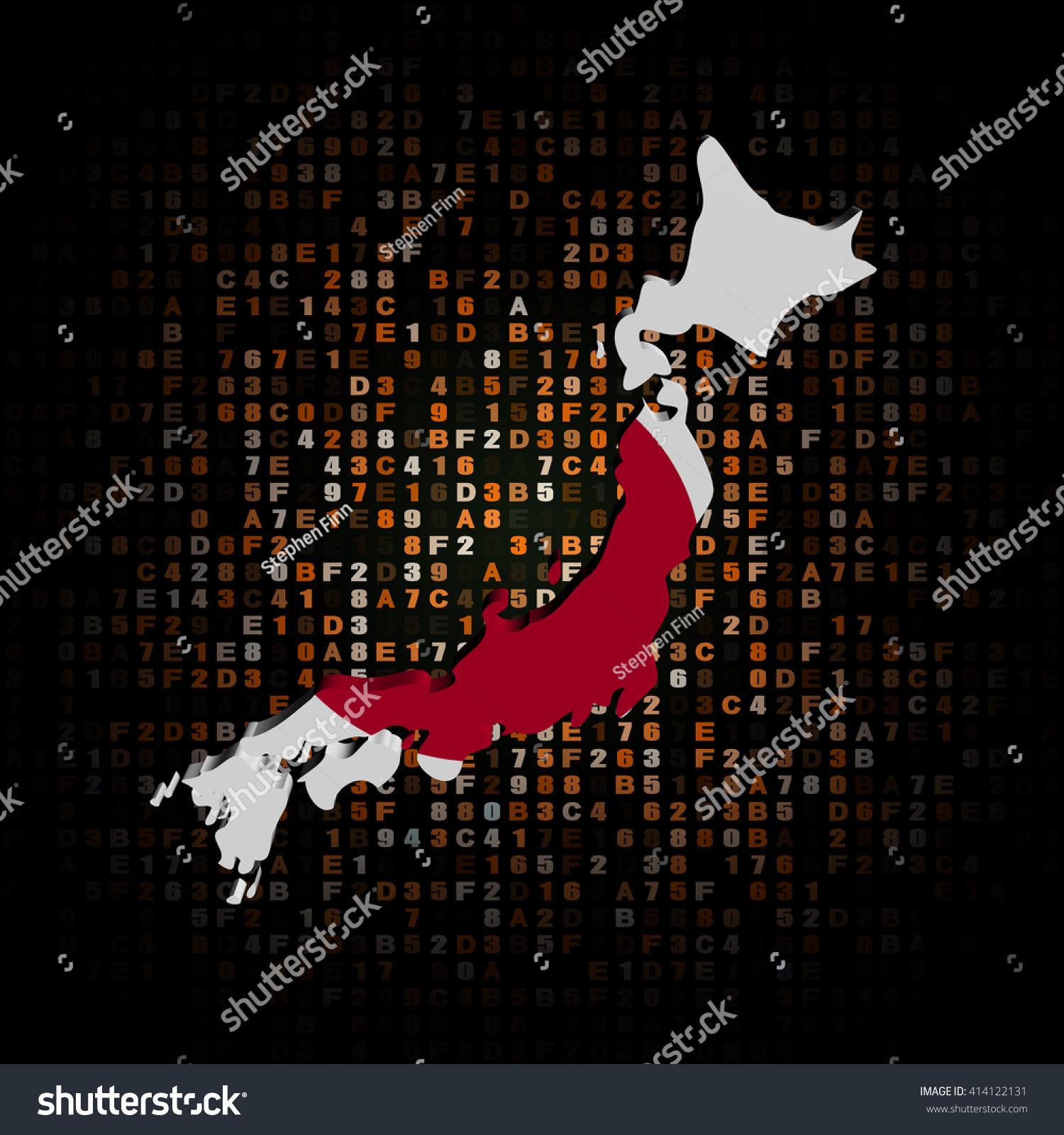 Japan Map Flag On Hex Code Stock Illustration Shutterstock - Japan map 5