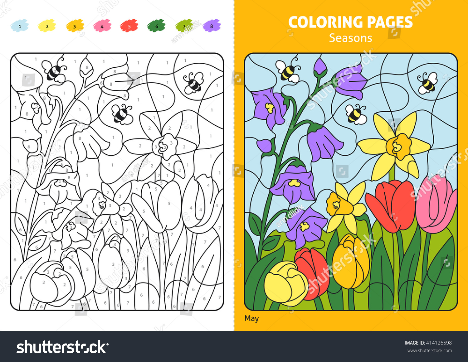 Seasons Coloring Page For Kids May Month Printable Design Book Puzzle