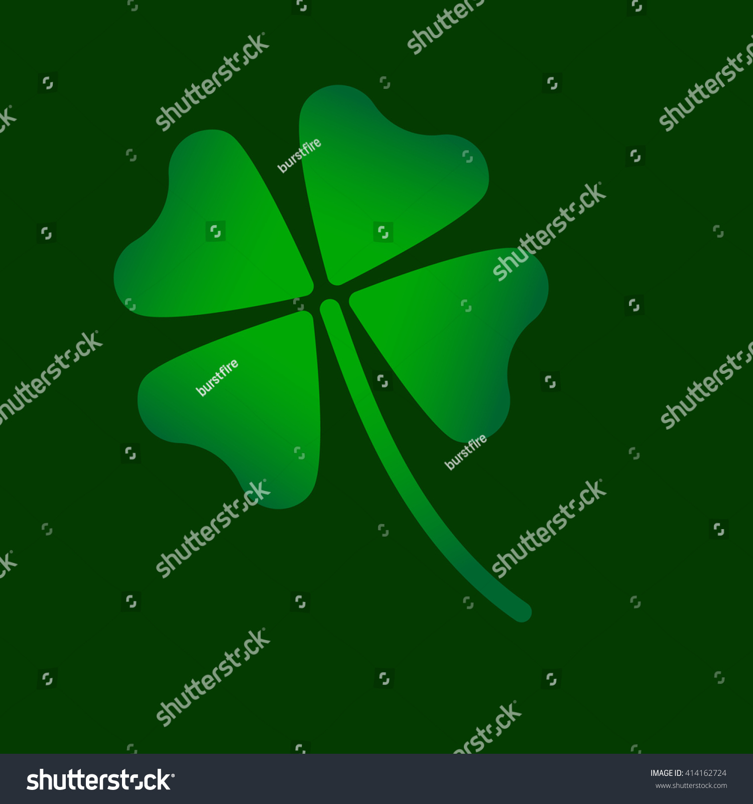Four Leaf Clover Green Symbol Icon Stock Vector Royalty Free