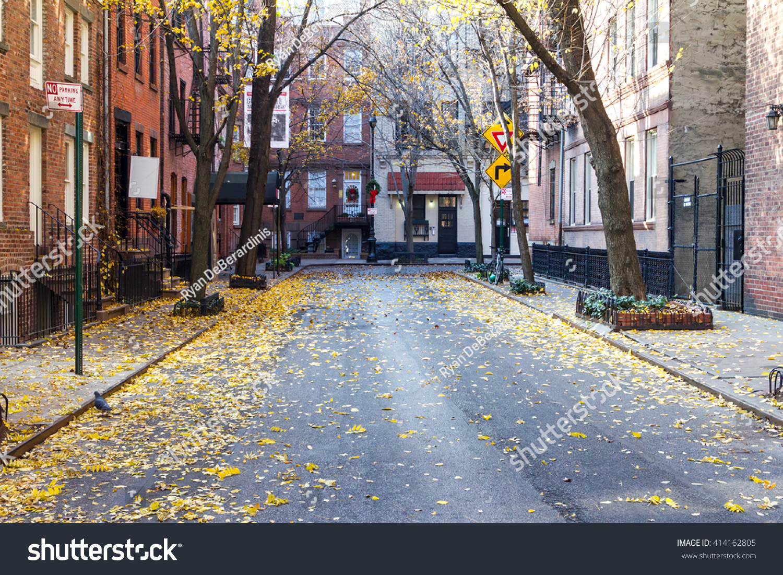 Quiet Empty Commerce Street Historic Greenwich Stock Photo ...