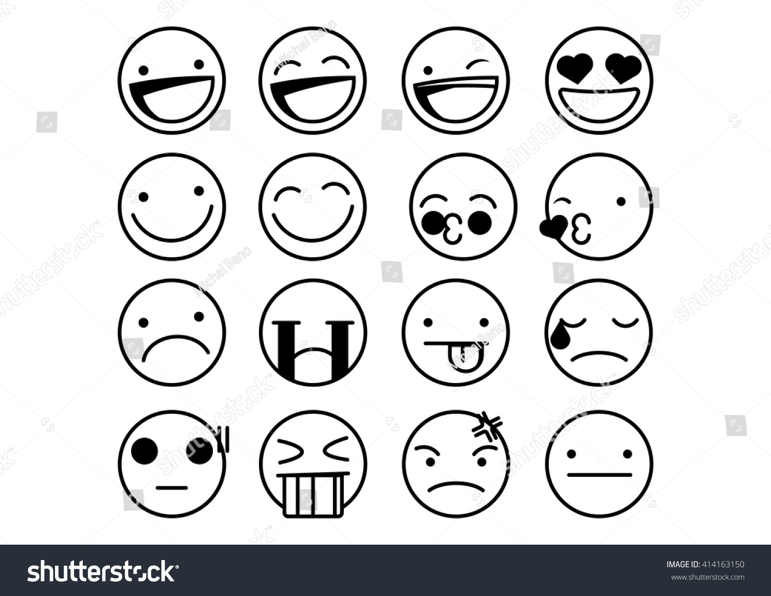 Set of black and white emoticons emoji isolated on white background vector illustration