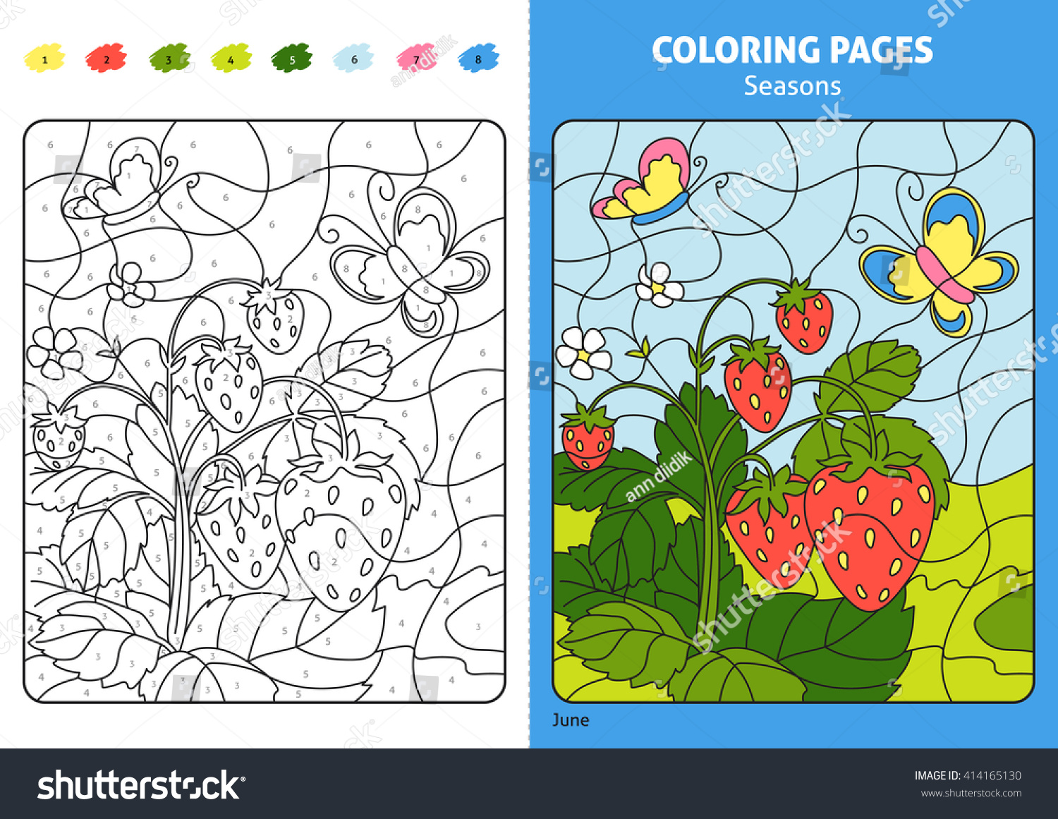 Seasons Coloring Page Kids June Monthprintable Stock Photo (Photo ...