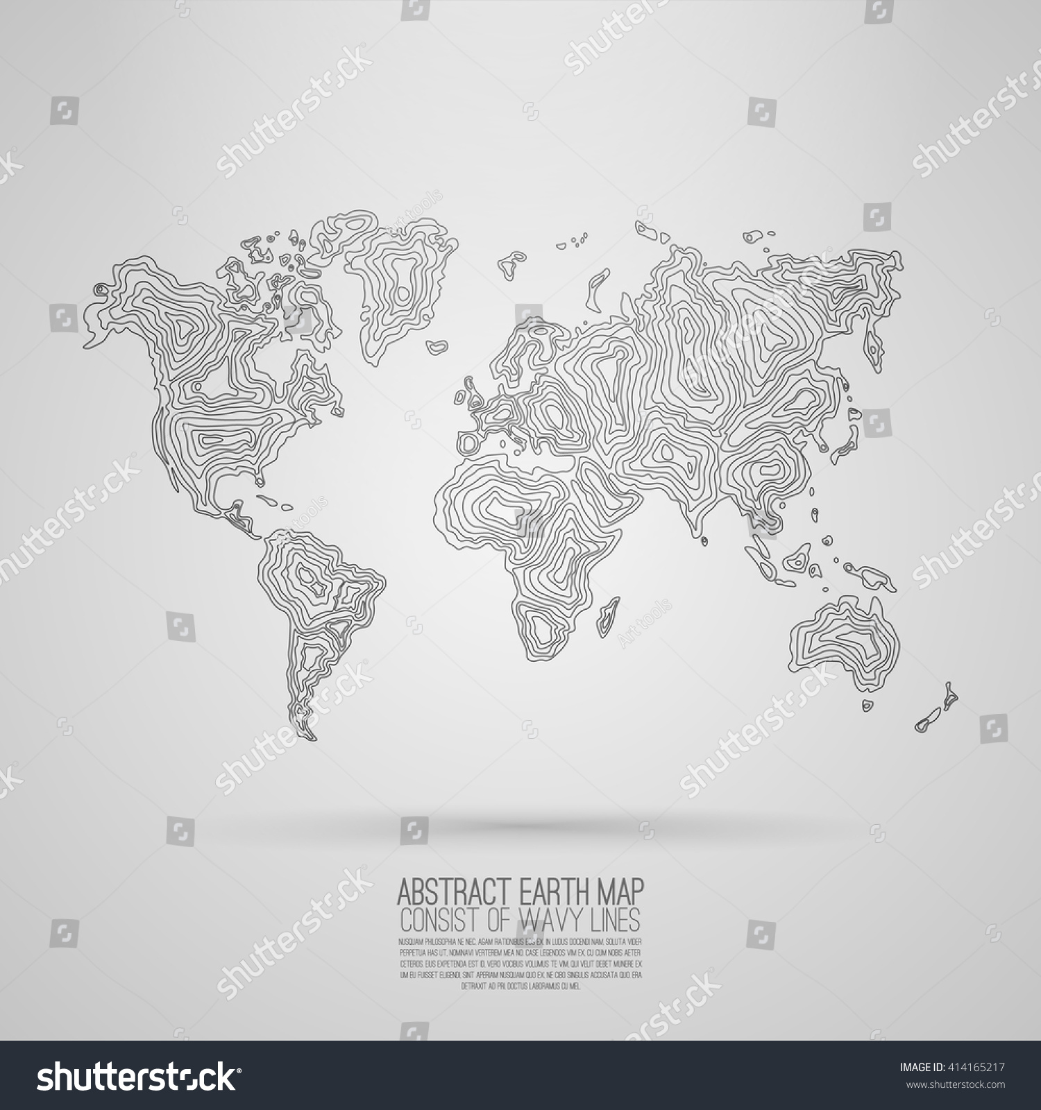 Abstract world map consist wavy lines stock vector 2018 414165217 abstract world map consist of wavy lines vector earth map decorative continents gumiabroncs Gallery