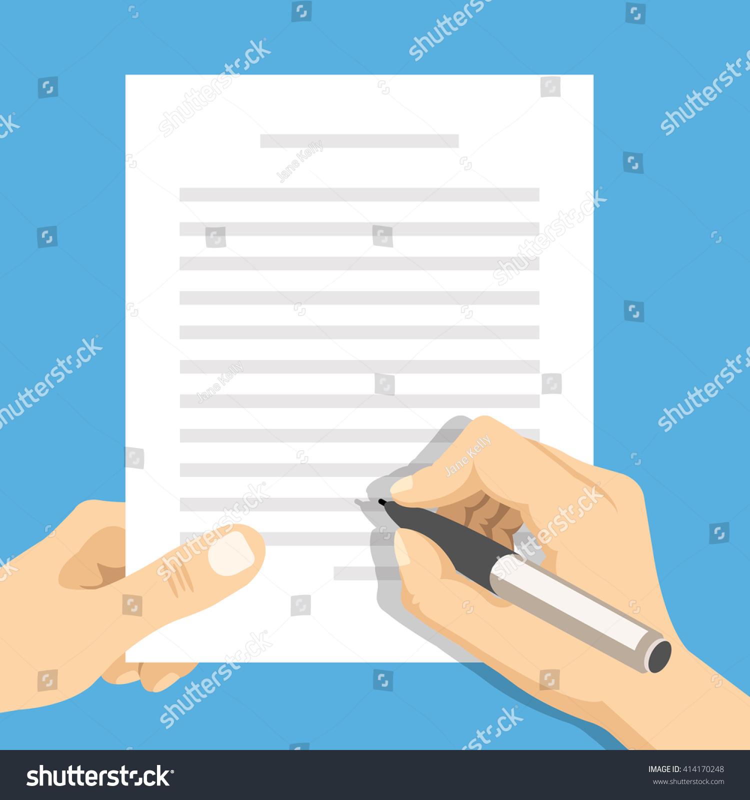 Hands Holding Sheet Paper Text Pen Stock Vector 414170248 ...