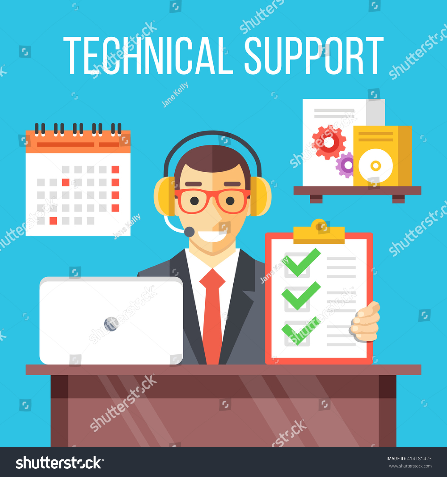 technical support specialist work call center stock vector technical support specialist at work call center agent answers customer questions give professional support