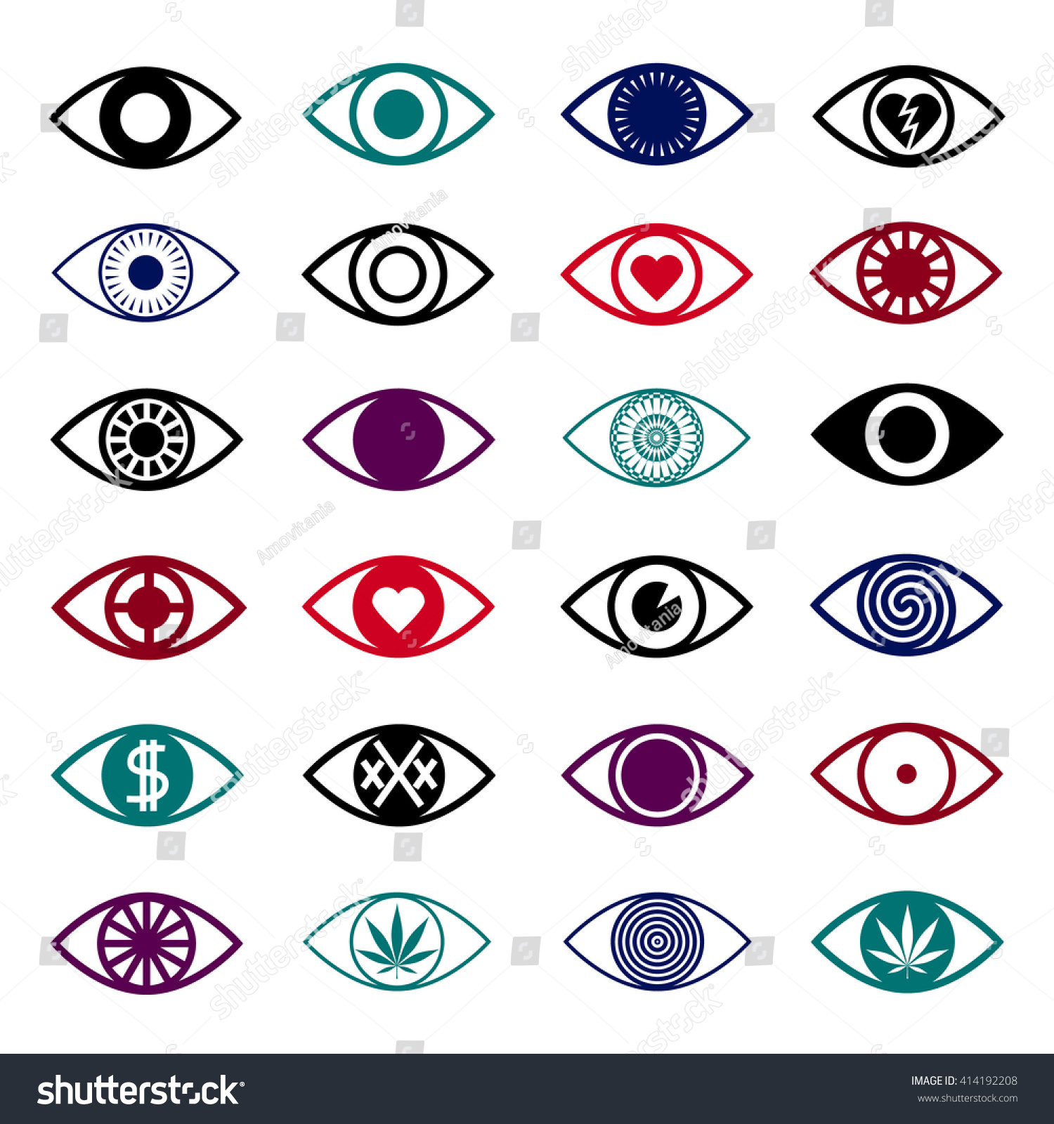 Simple Eye Icons Set Triangle Flare Stock Vector 414192208 ...