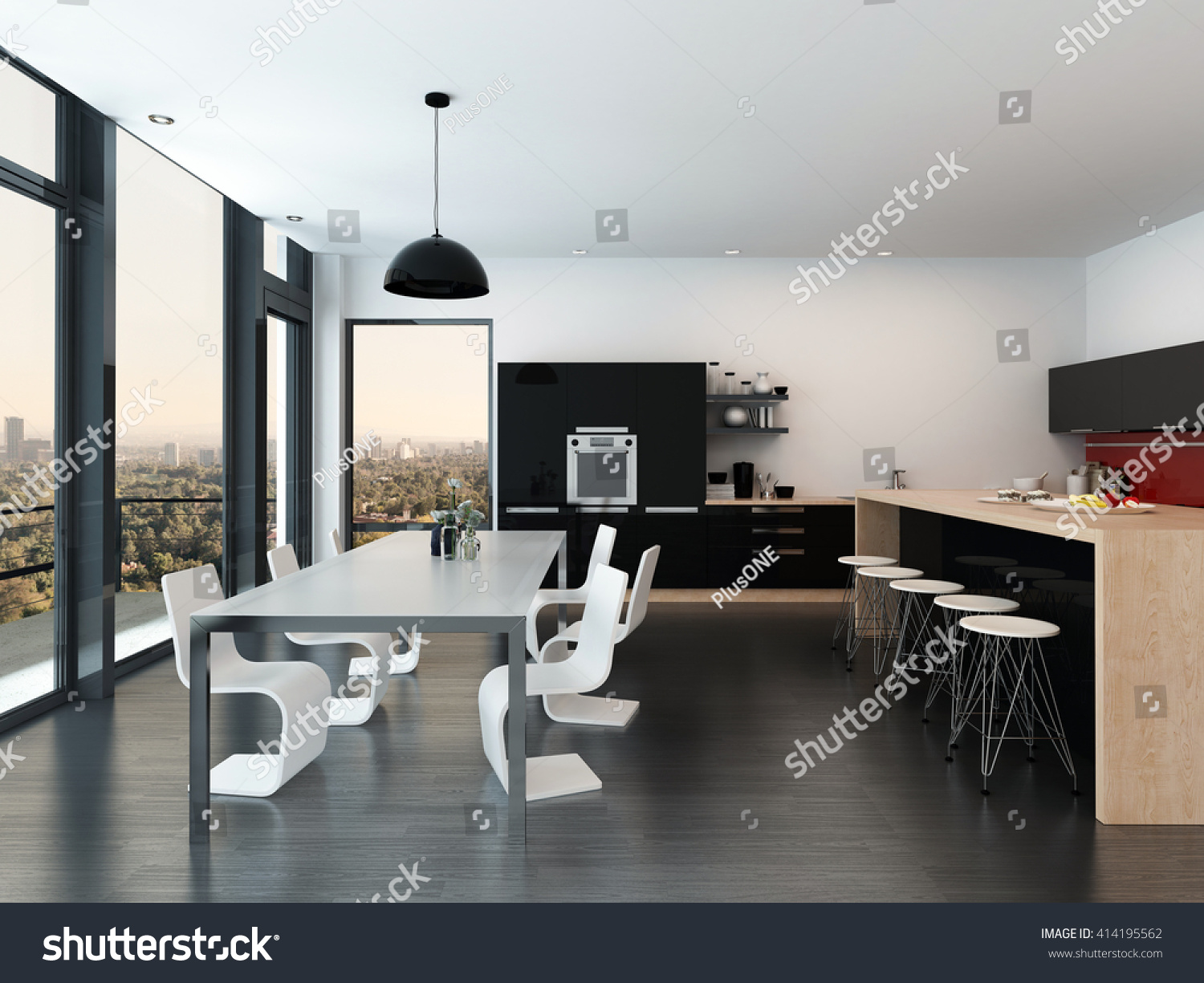 Modern Open Plan Kitchen And Dining Room Interior Decor With A Molded Suite