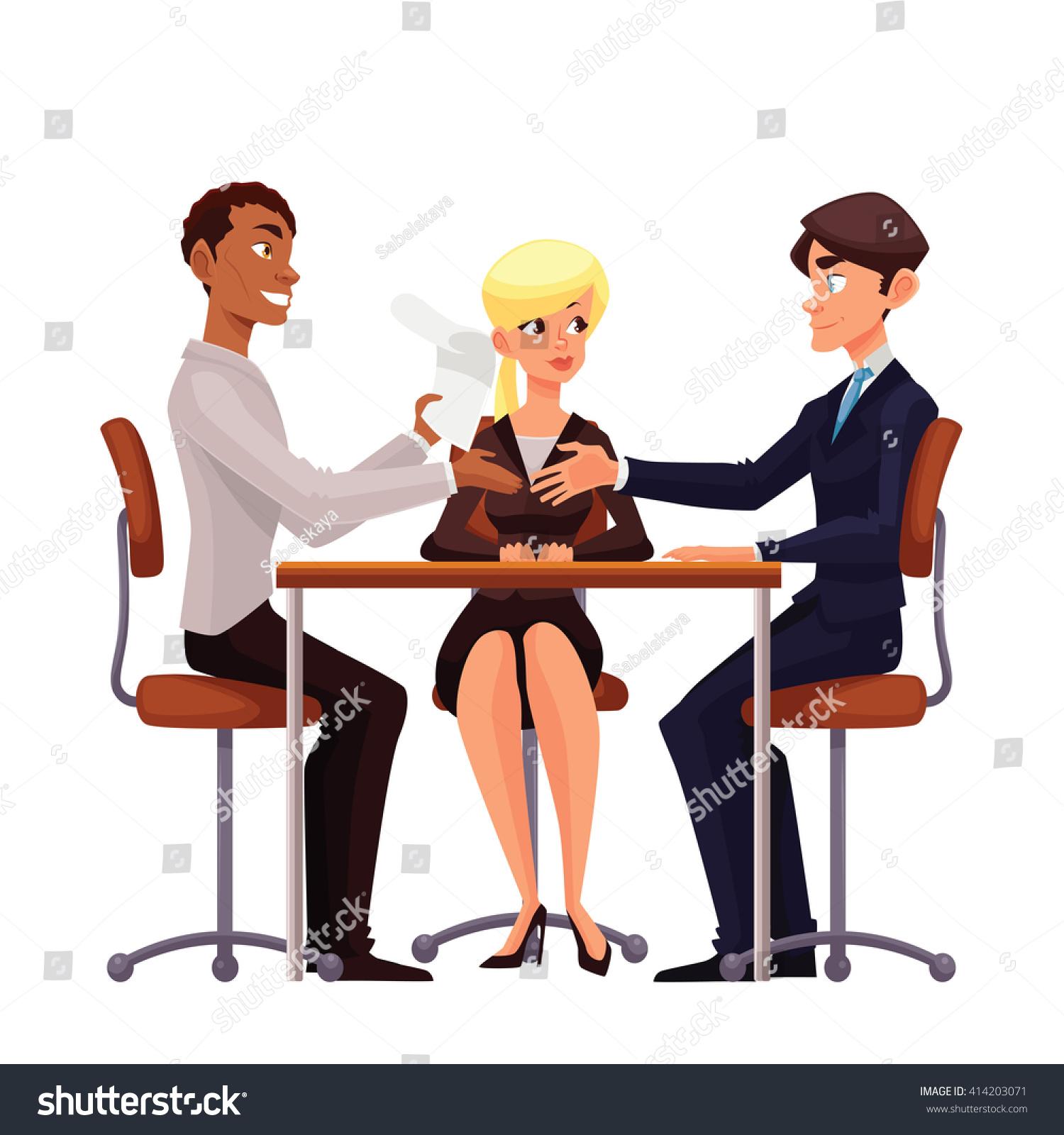 talks table vector comic cartoon on stock vector  talks at table vector comic cartoon on a white background a job interview