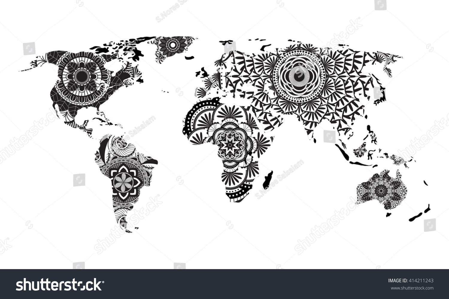 Mandala World Map Vector Stock Vector Royalty Free - Mandala map of the world