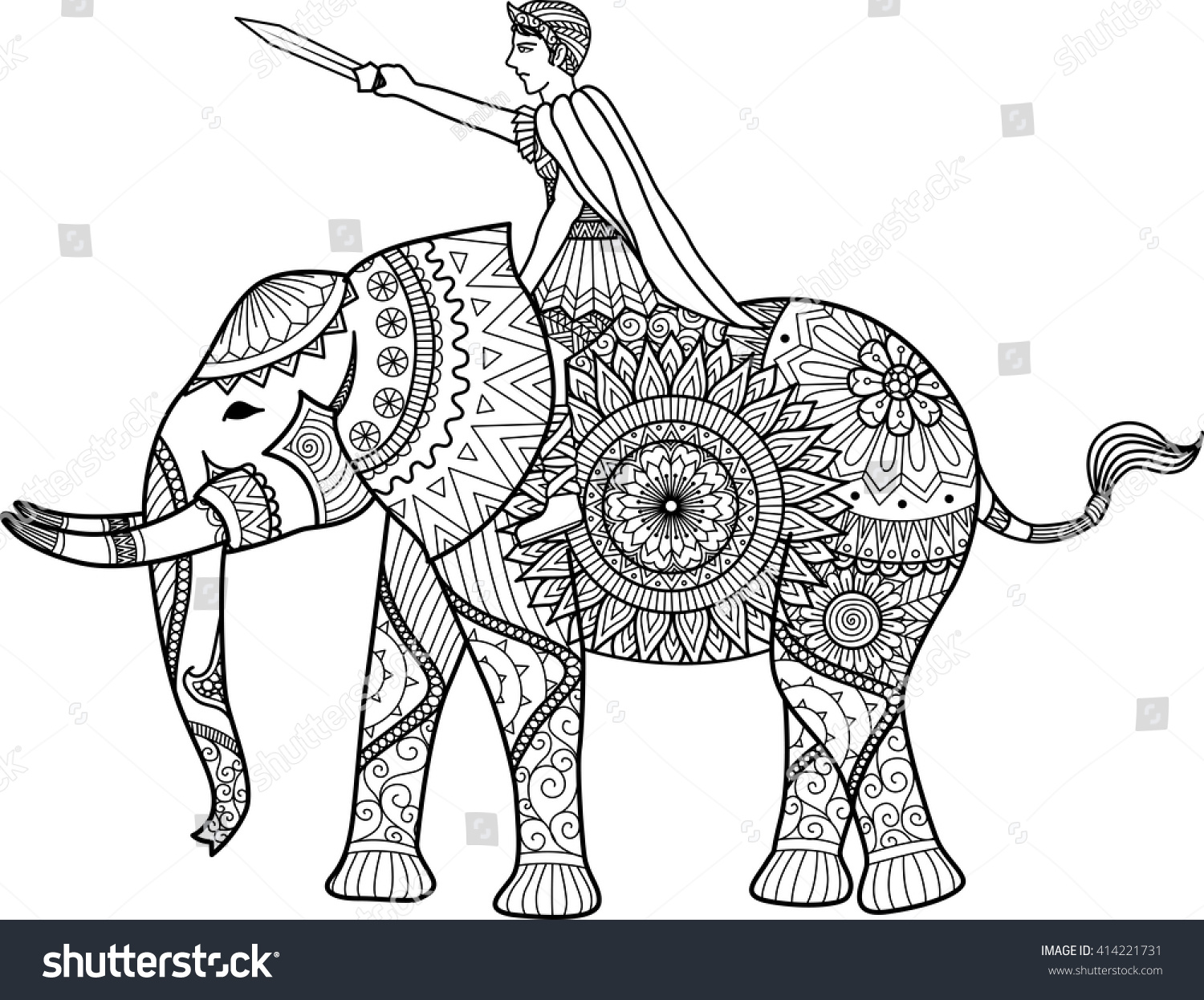 zentangle sylized of warrior riding elephant coloring book for adult cards t shirt