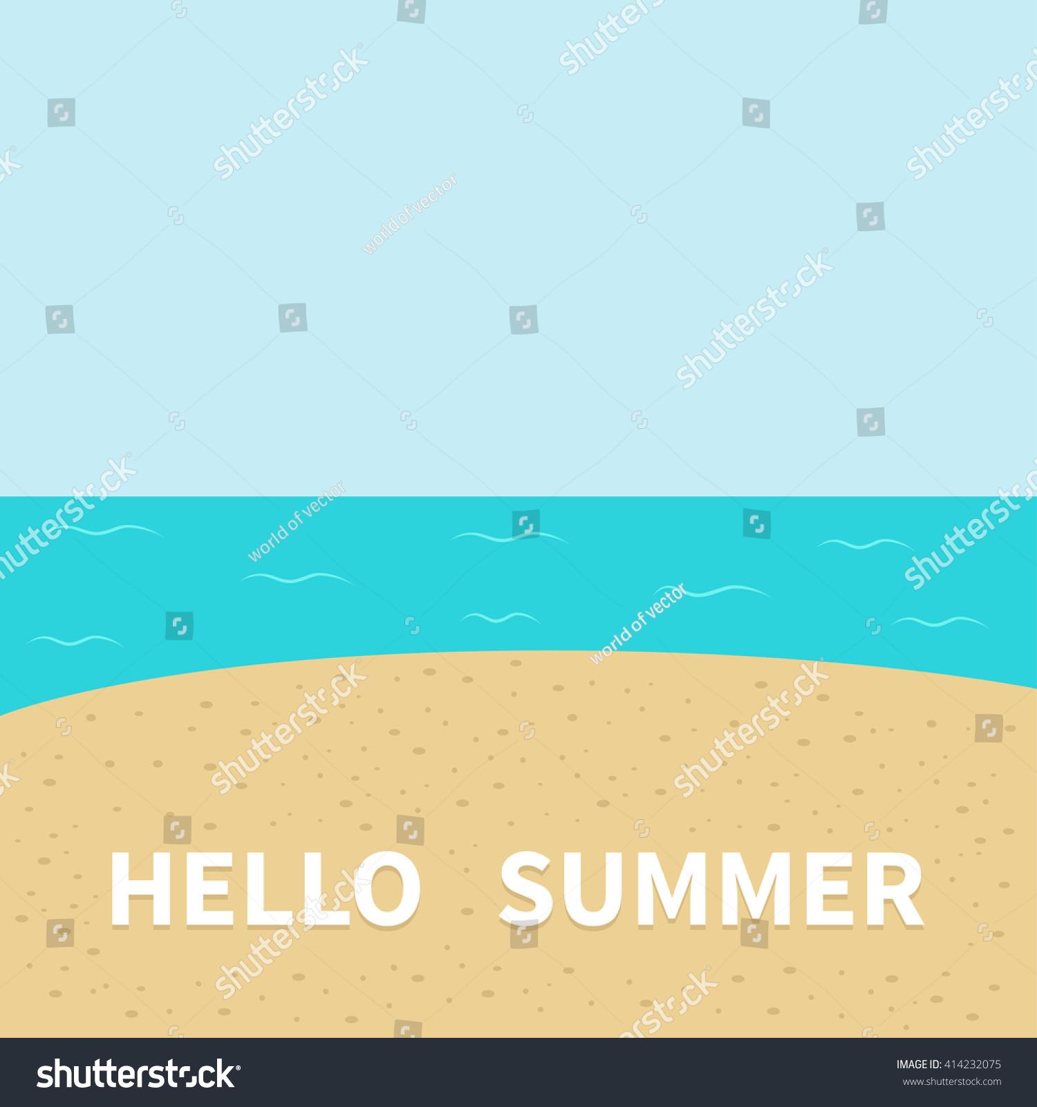 Hello Summer Beach, Sea Ocean, Sky, Sand. Cute Cartoon Baby Character.