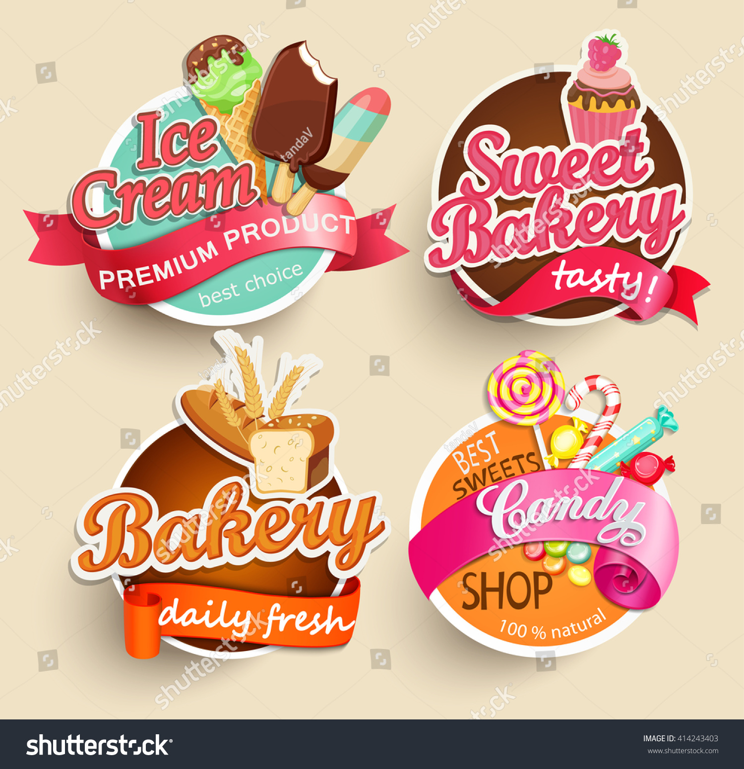 food label sticker bakery ice cream stock vector 414243403. Black Bedroom Furniture Sets. Home Design Ideas
