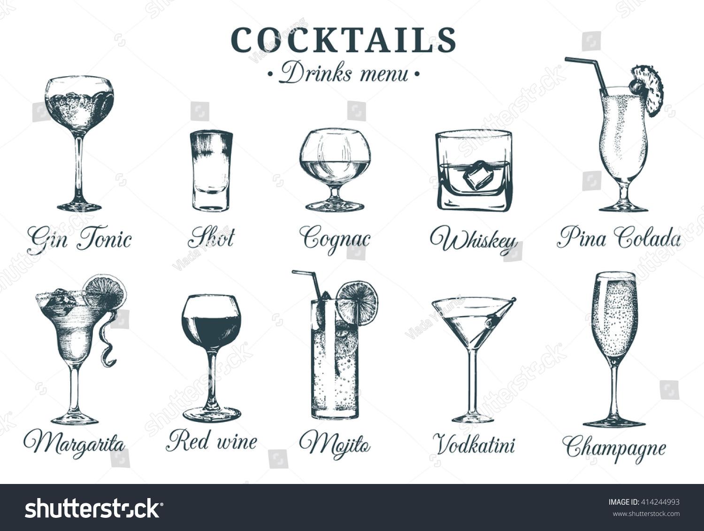 hand sketched cocktails glasses vector set stock vector   - hand sketched cocktails glasses vector set of alcoholic drinks drawingsrestaurant cafe