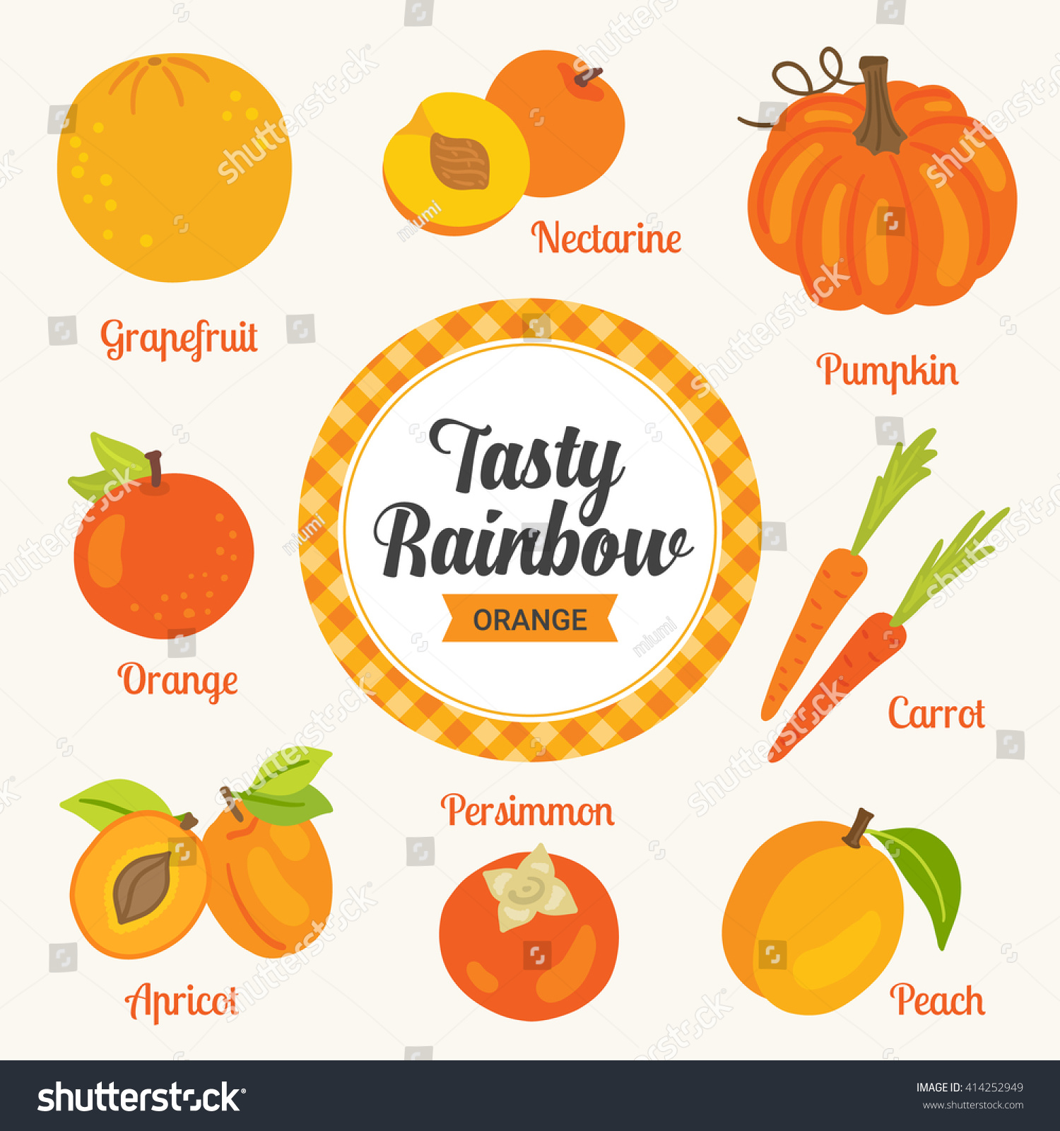 Tasty rainbow set orange color fruits stock vektorgrafik for Orange colour things