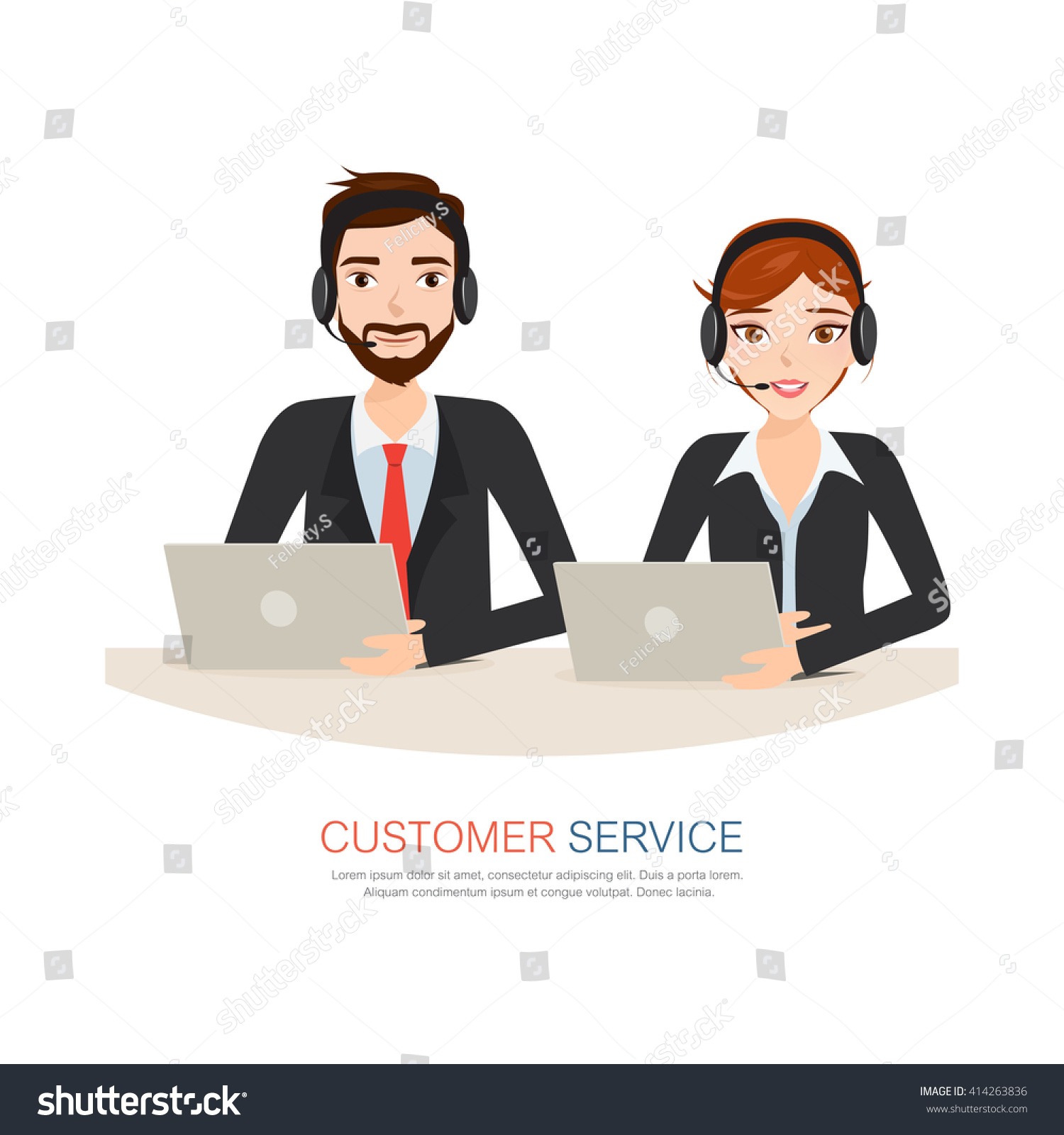 Male Female Call Center Avatar Icons Stock Vector