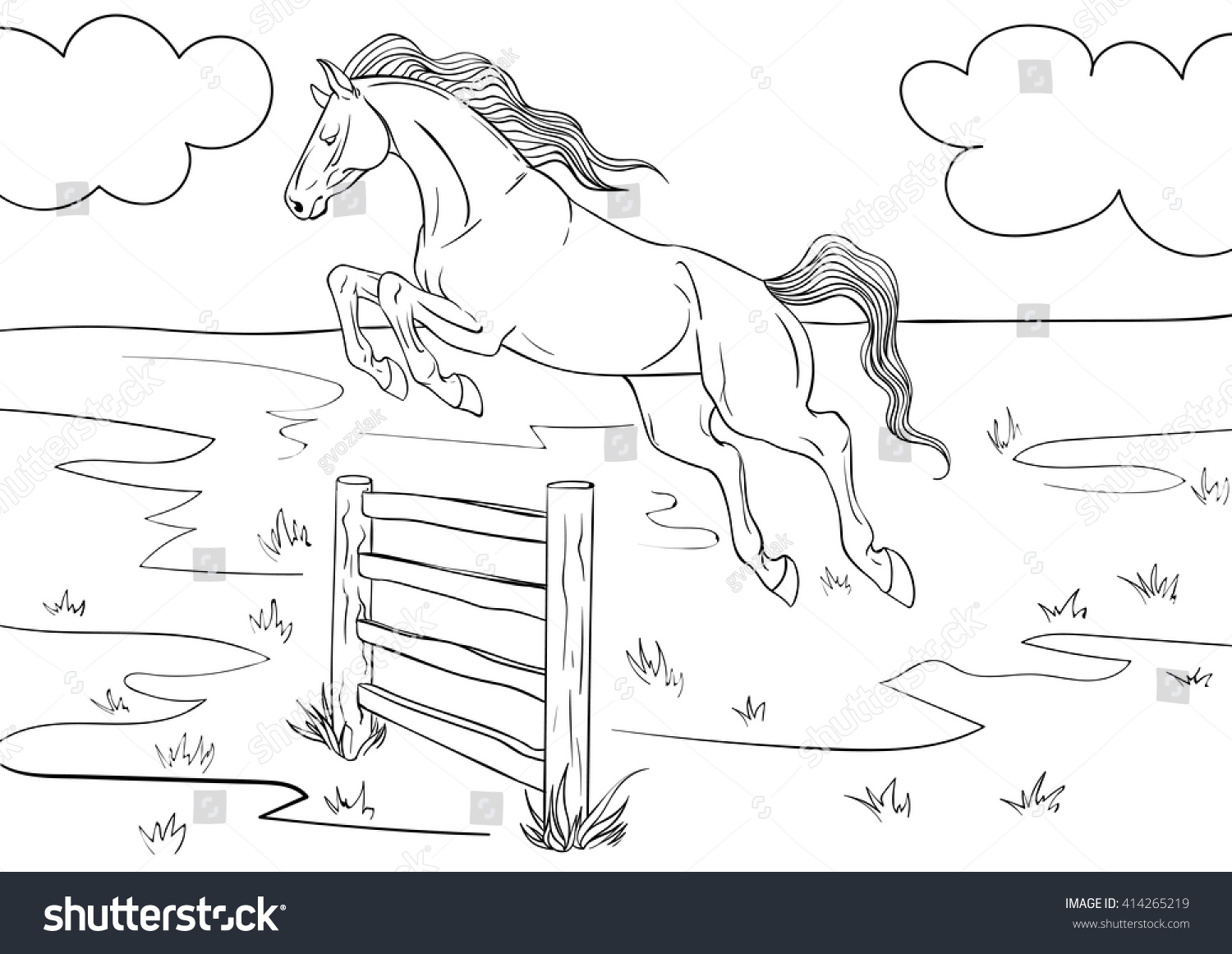Coloring book horses - Coloring Book With A Horse And Background